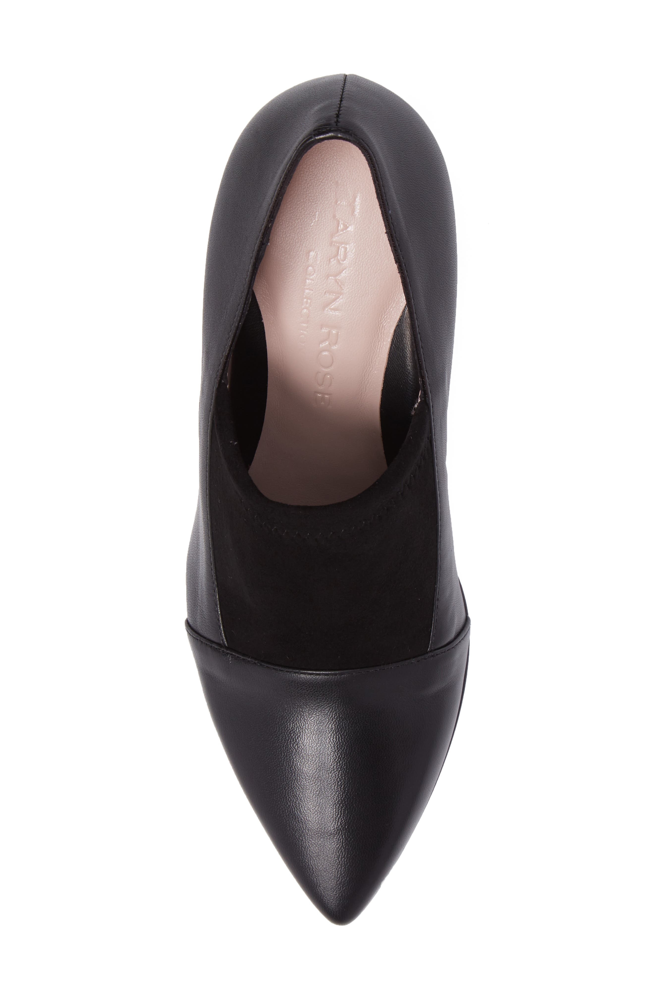 Ghita Pointy Toe Pump,                             Alternate thumbnail 5, color,                             Black Leather