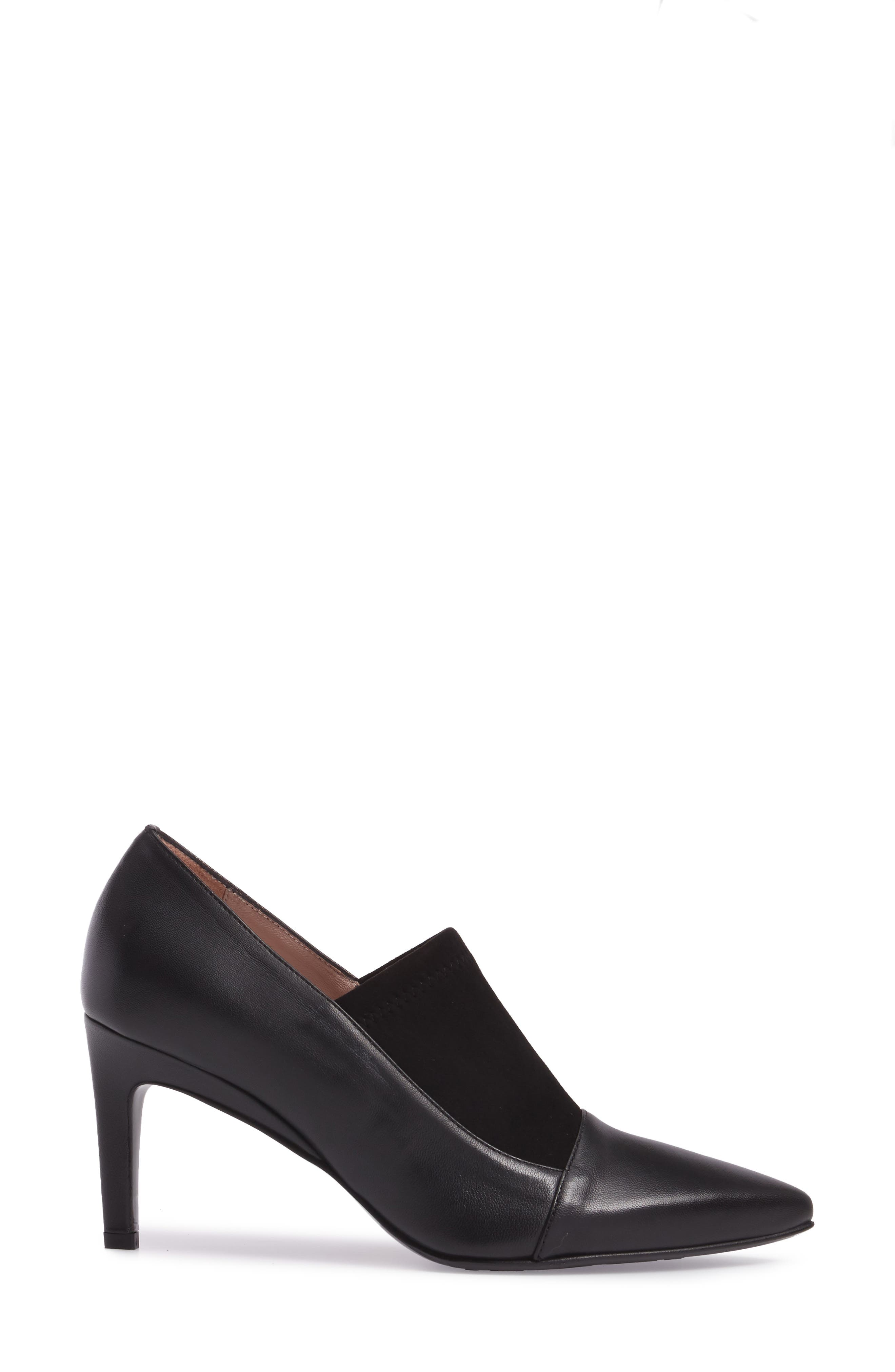 Ghita Pointy Toe Pump,                             Alternate thumbnail 3, color,                             Black Leather
