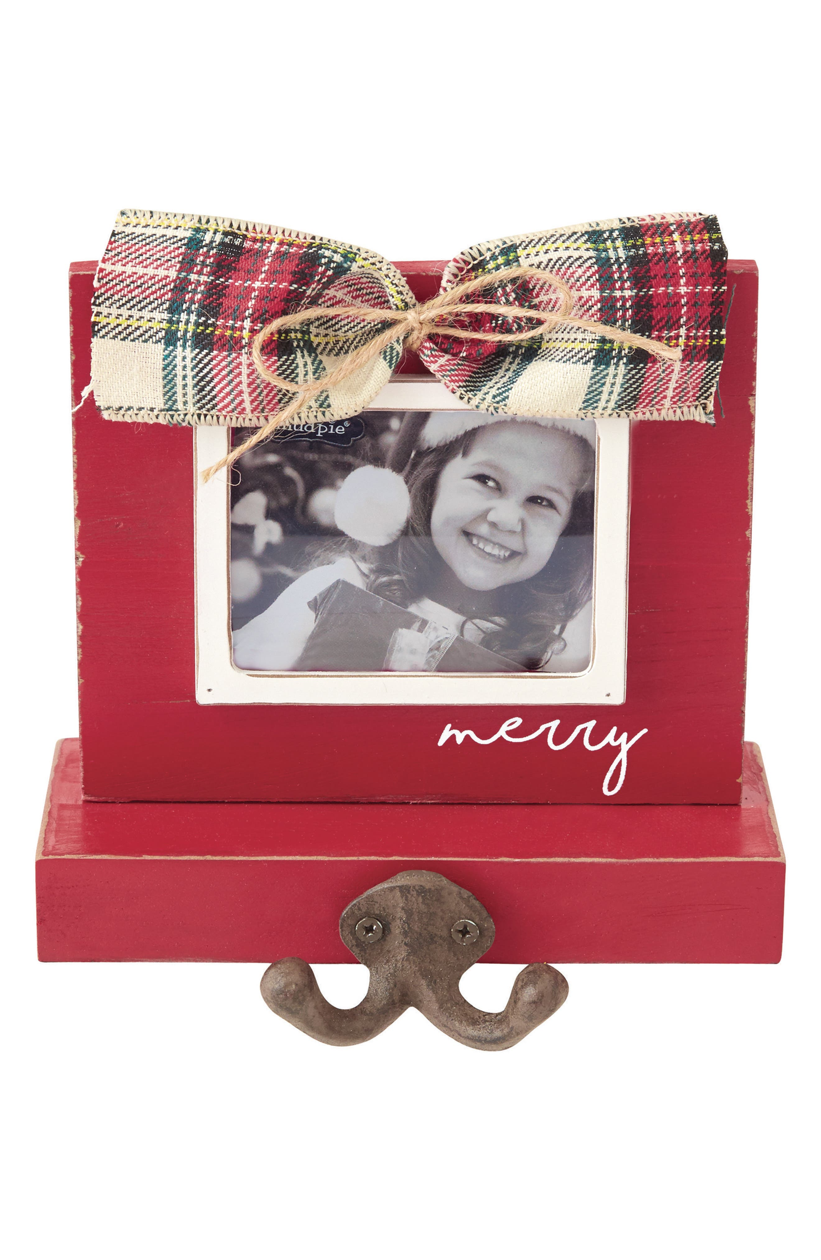 Mud Pie Tartan Bow Frame Christmas Stocking Holder