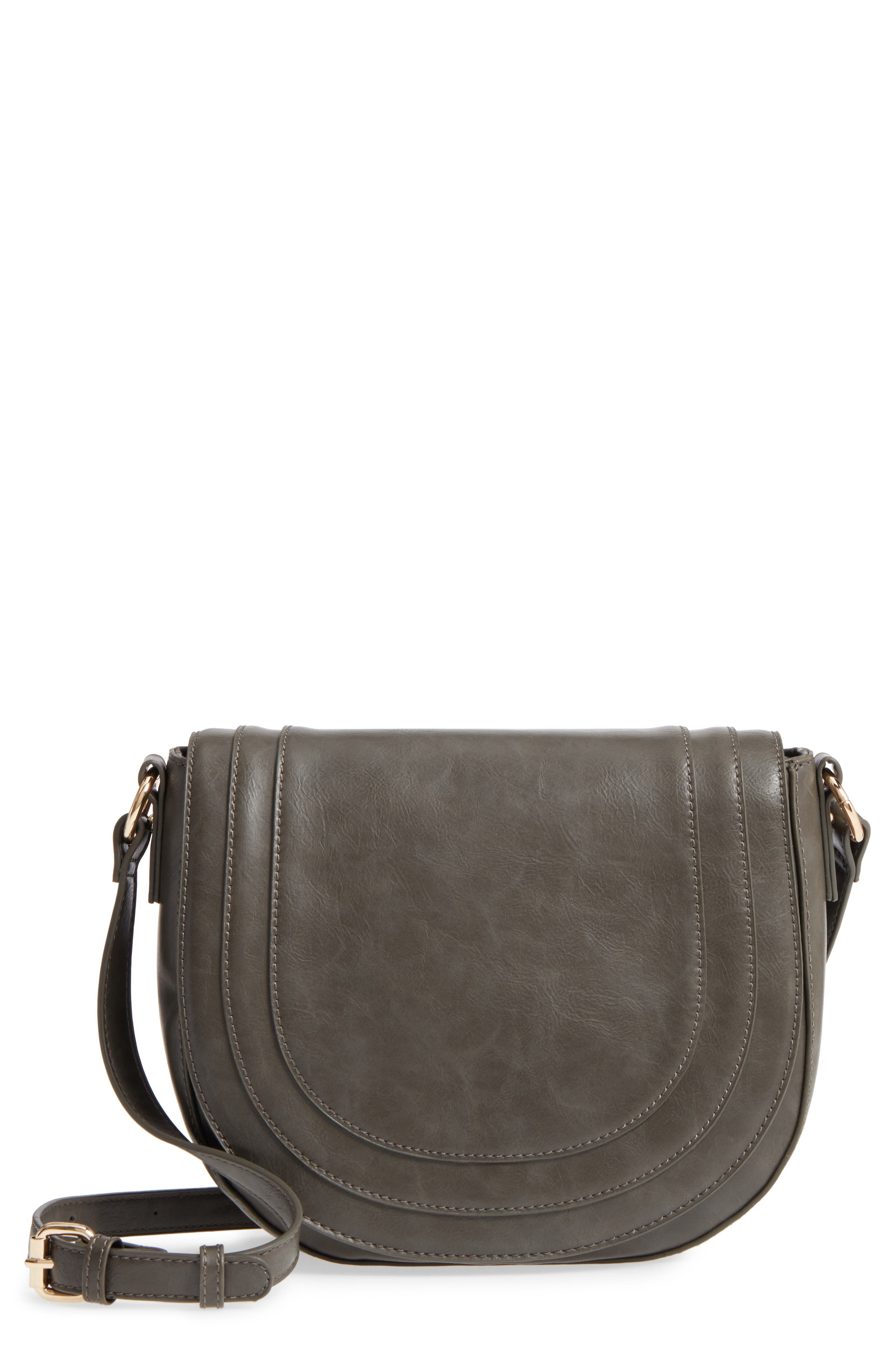 Piri Faux Leather Saddle Bag,                         Main,                         color, Grey