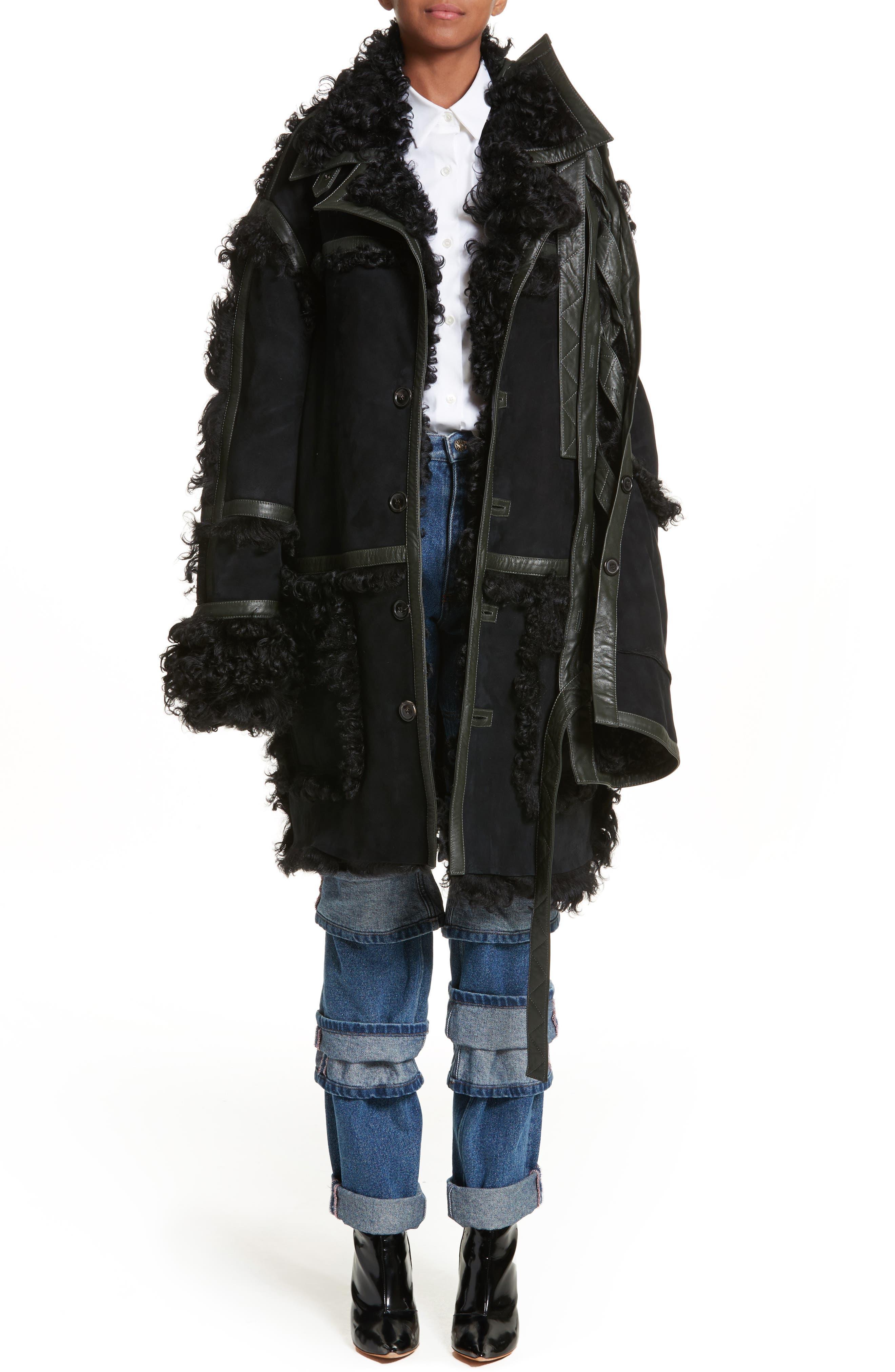 Genuine Shearling Coat,                         Main,                         color, Noir