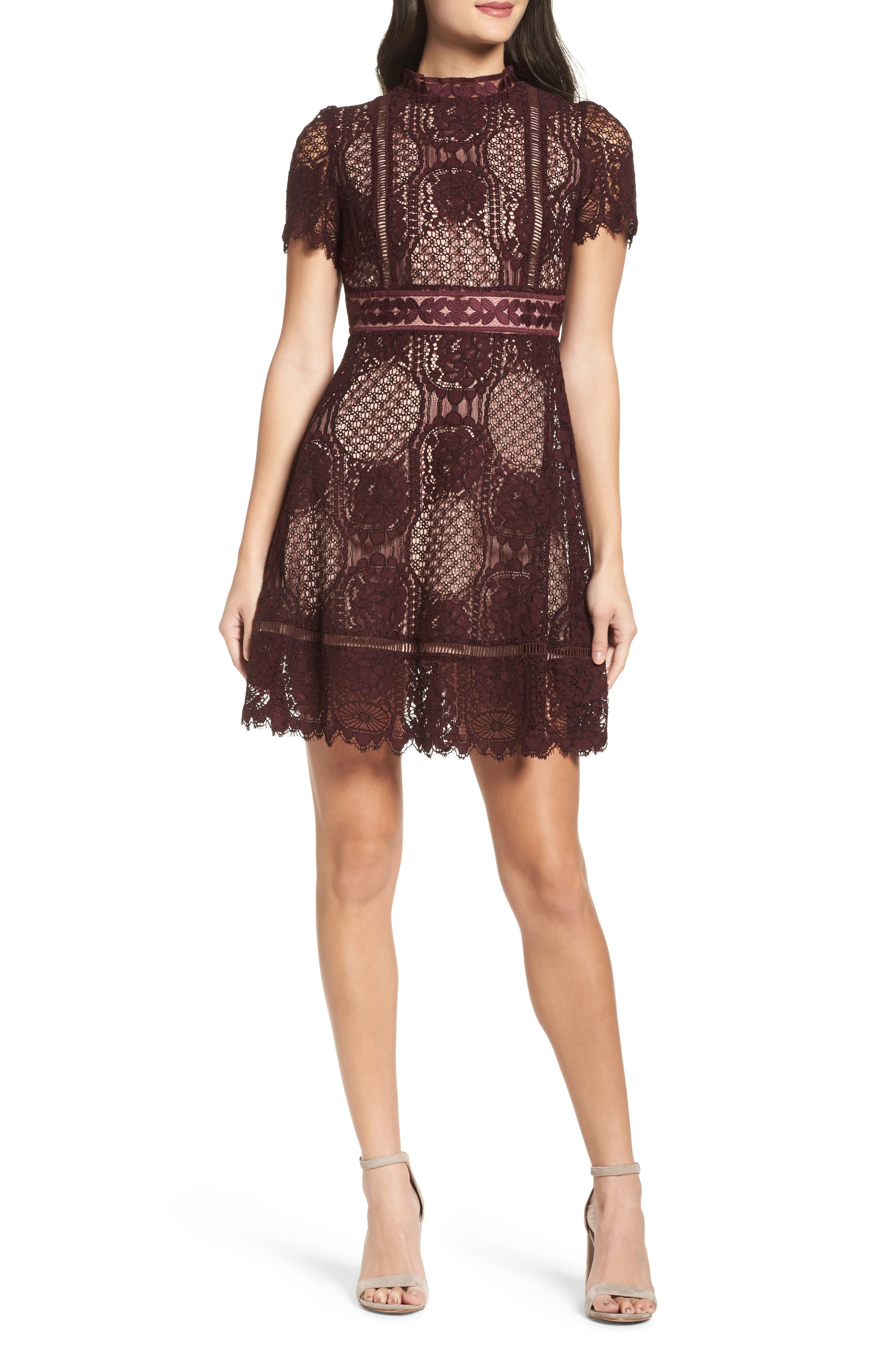 Lace Fit & Flare Dress,                             Main thumbnail 1, color,                             Fig