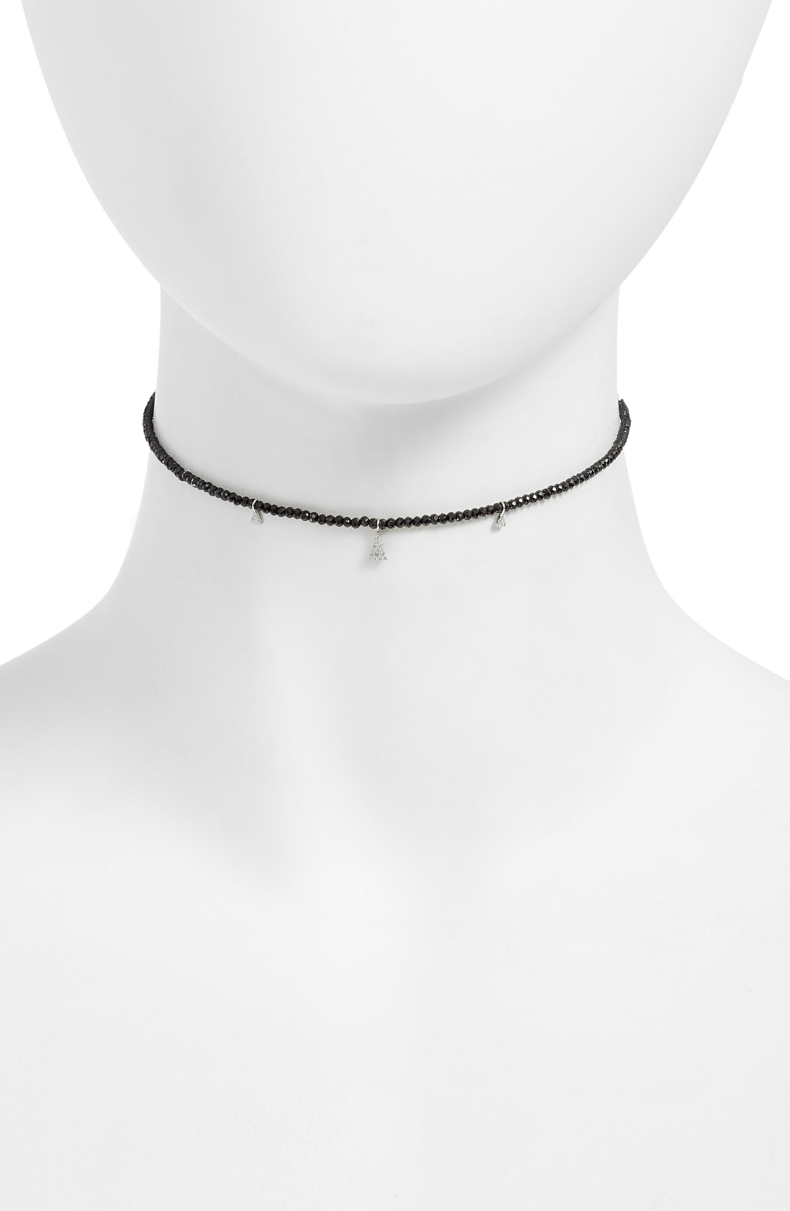 Diamond Charm Choker Necklace,                         Main,                         color, White Gold