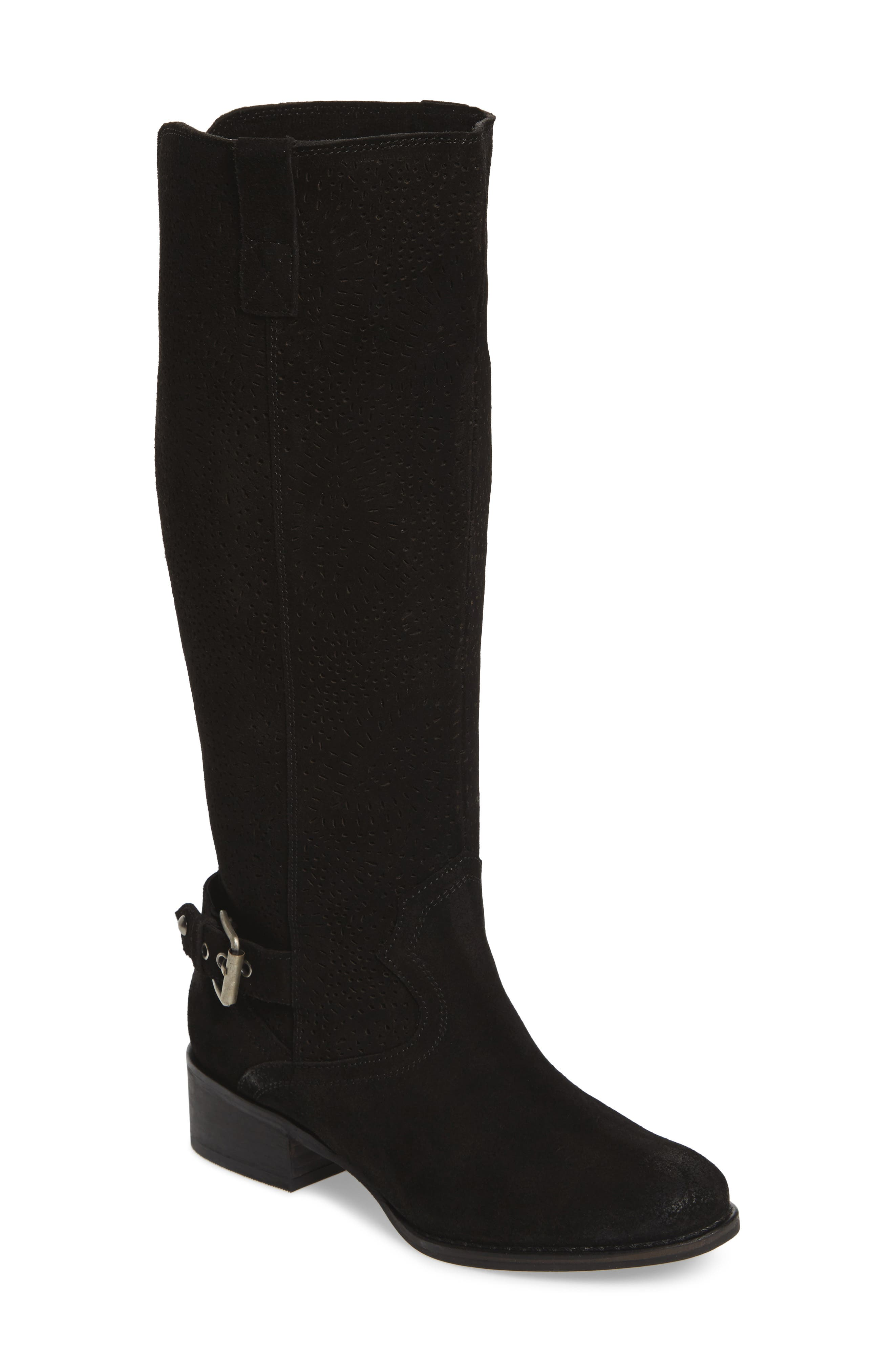 Ziba Tall Boot,                         Main,                         color, Black Suede