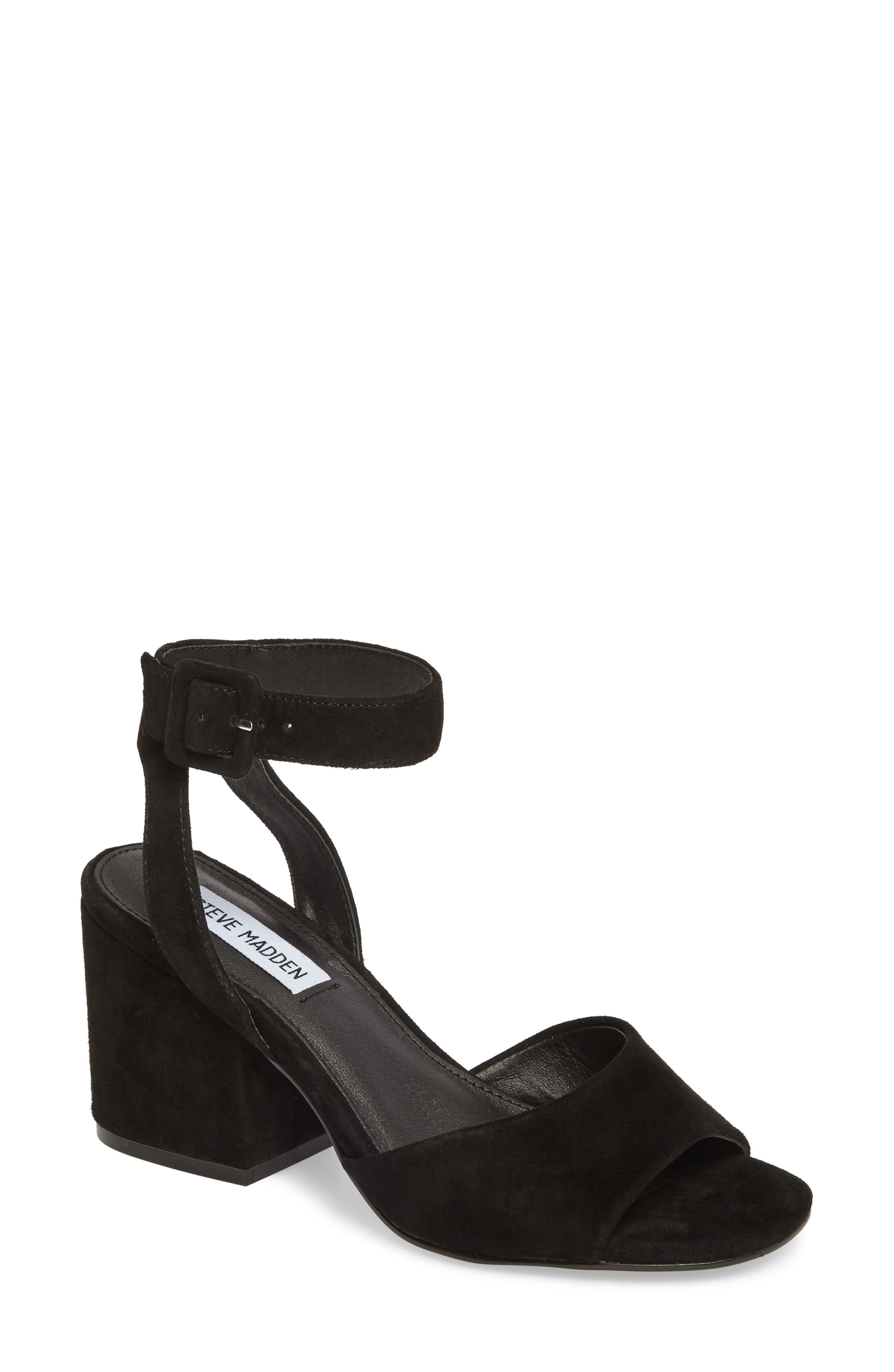 Debbie Sandal,                             Main thumbnail 1, color,                             Black Suede