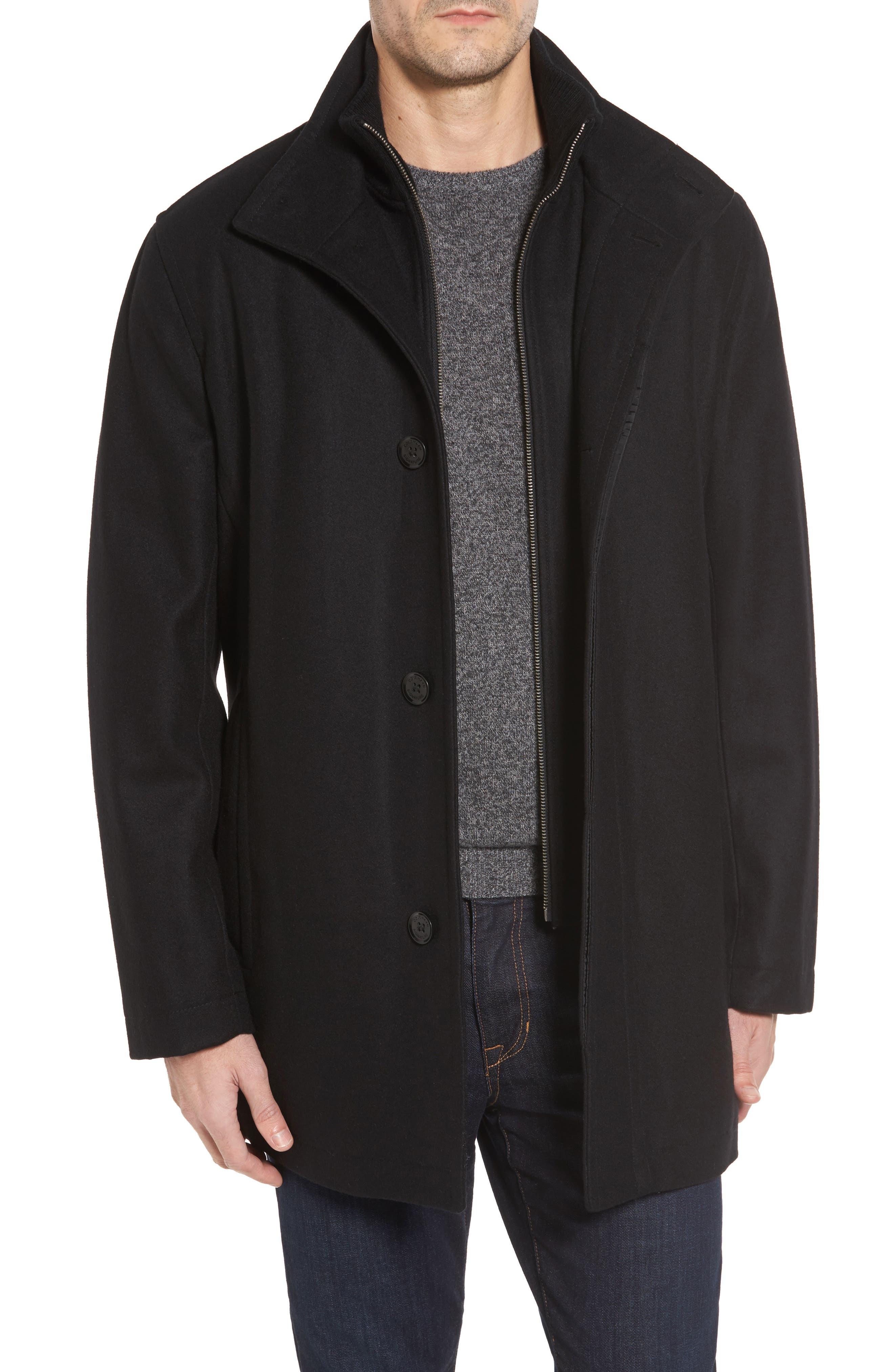 Melton Wool Blend Coat,                             Main thumbnail 1, color,                             Black