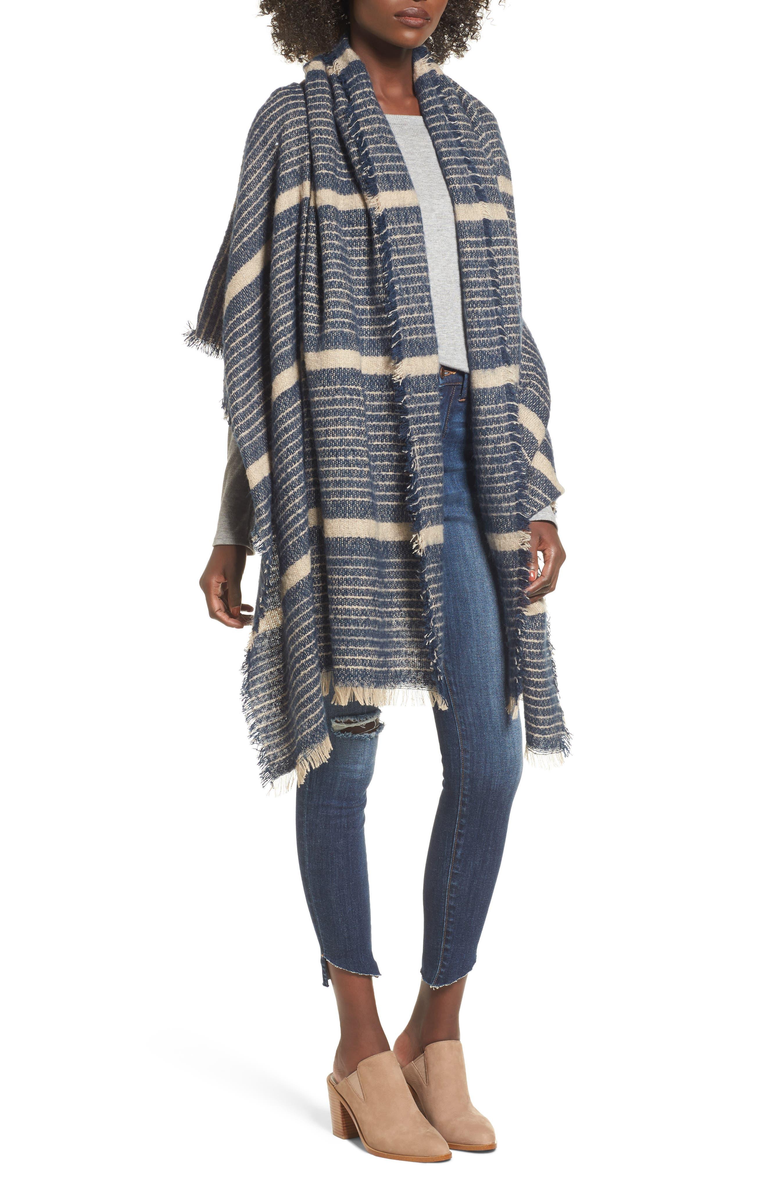 Stripe Blanket Scarf,                         Main,                         color, Navy Combo