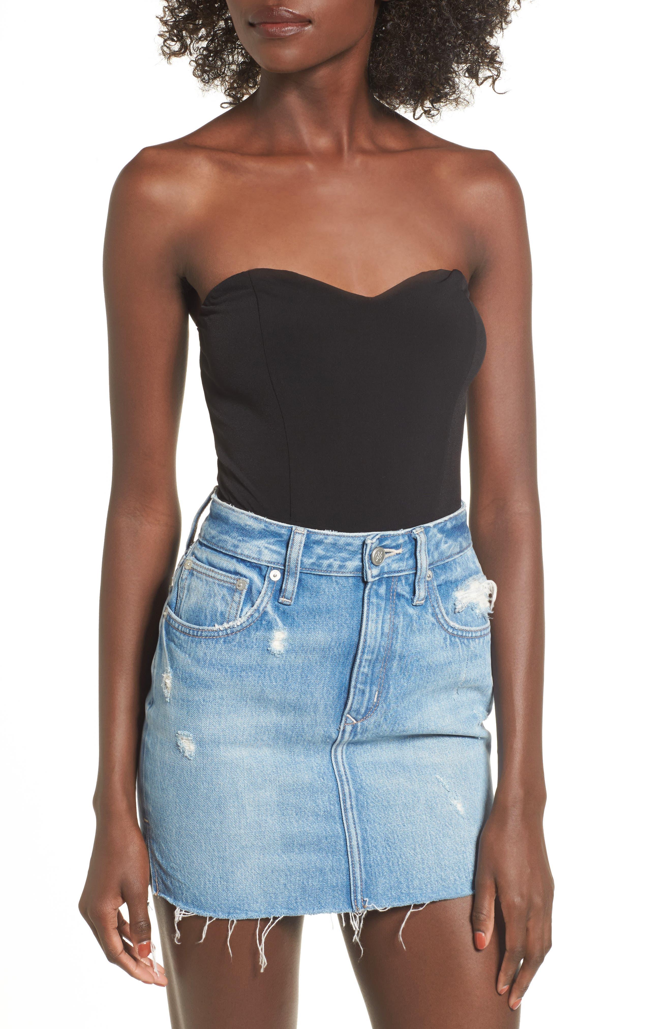 Patricia Strapless Bodysuit,                         Main,                         color, Black