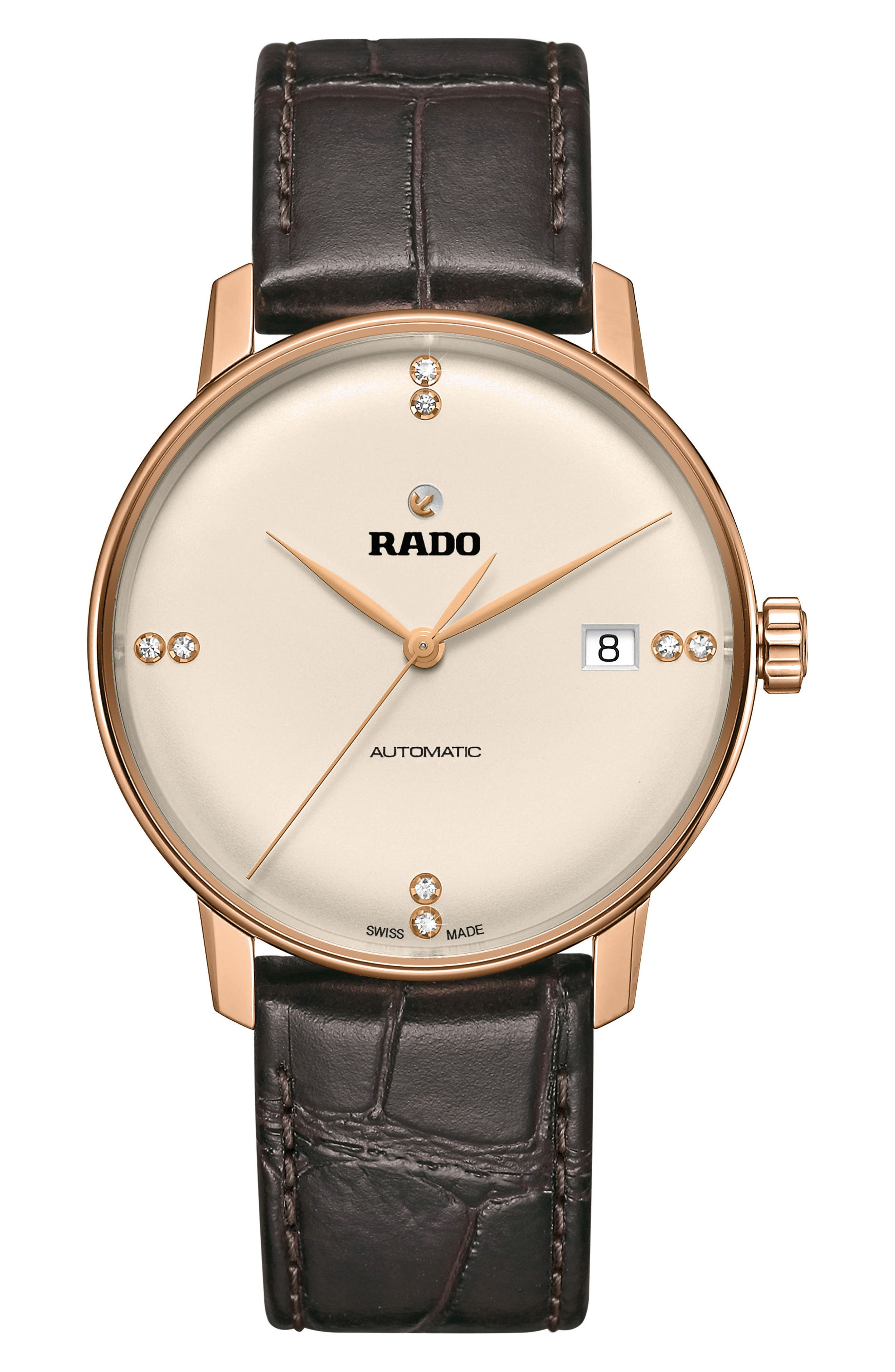 RADO Coupole Classic Automatic Diamond Leather Strap Watch, 37.7mm