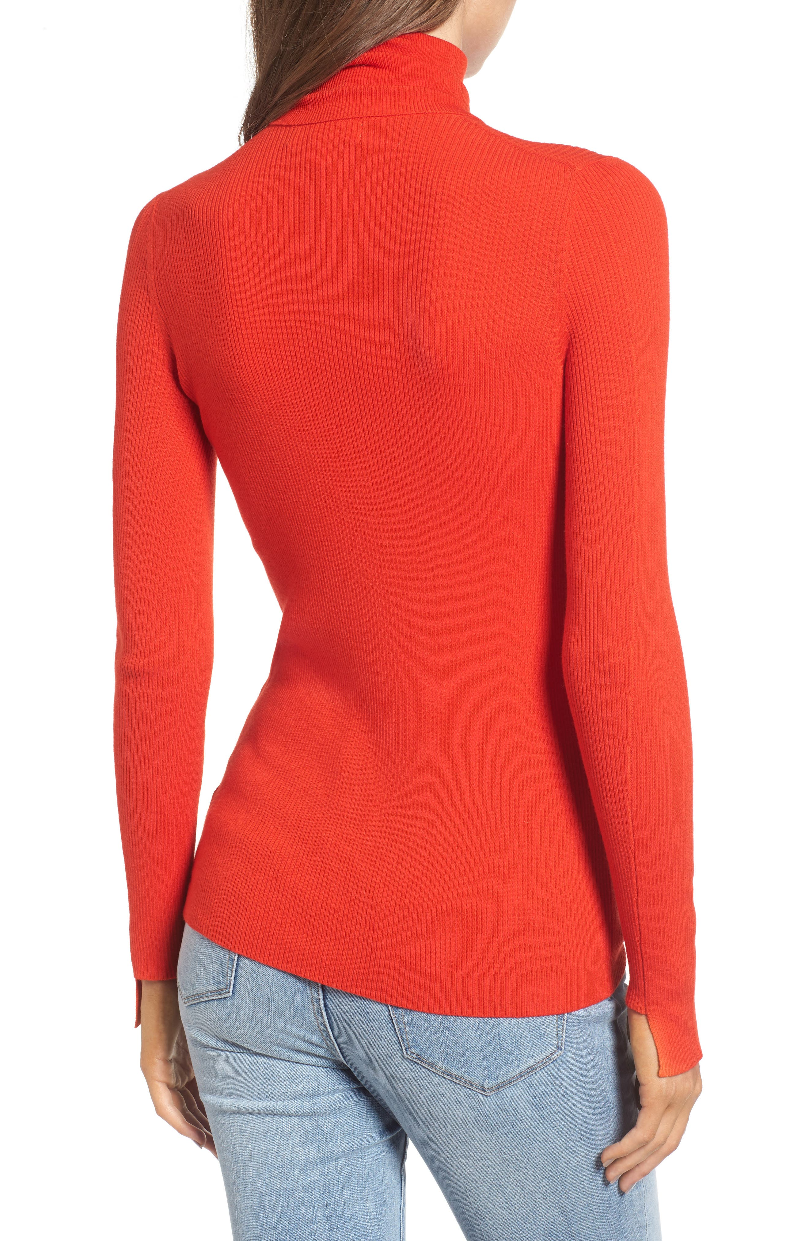 x Something Navy Turtleneck Sweater,                             Alternate thumbnail 3, color,                             Red Fiery
