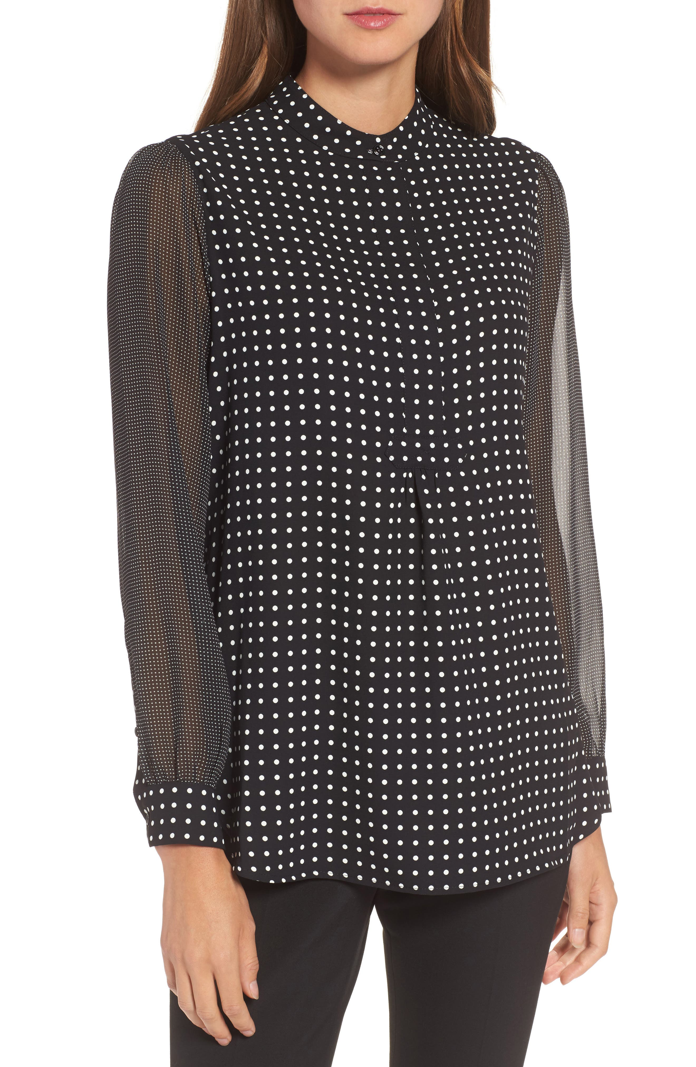 Mixed Dot Print Blouse,                         Main,                         color, Black/ White