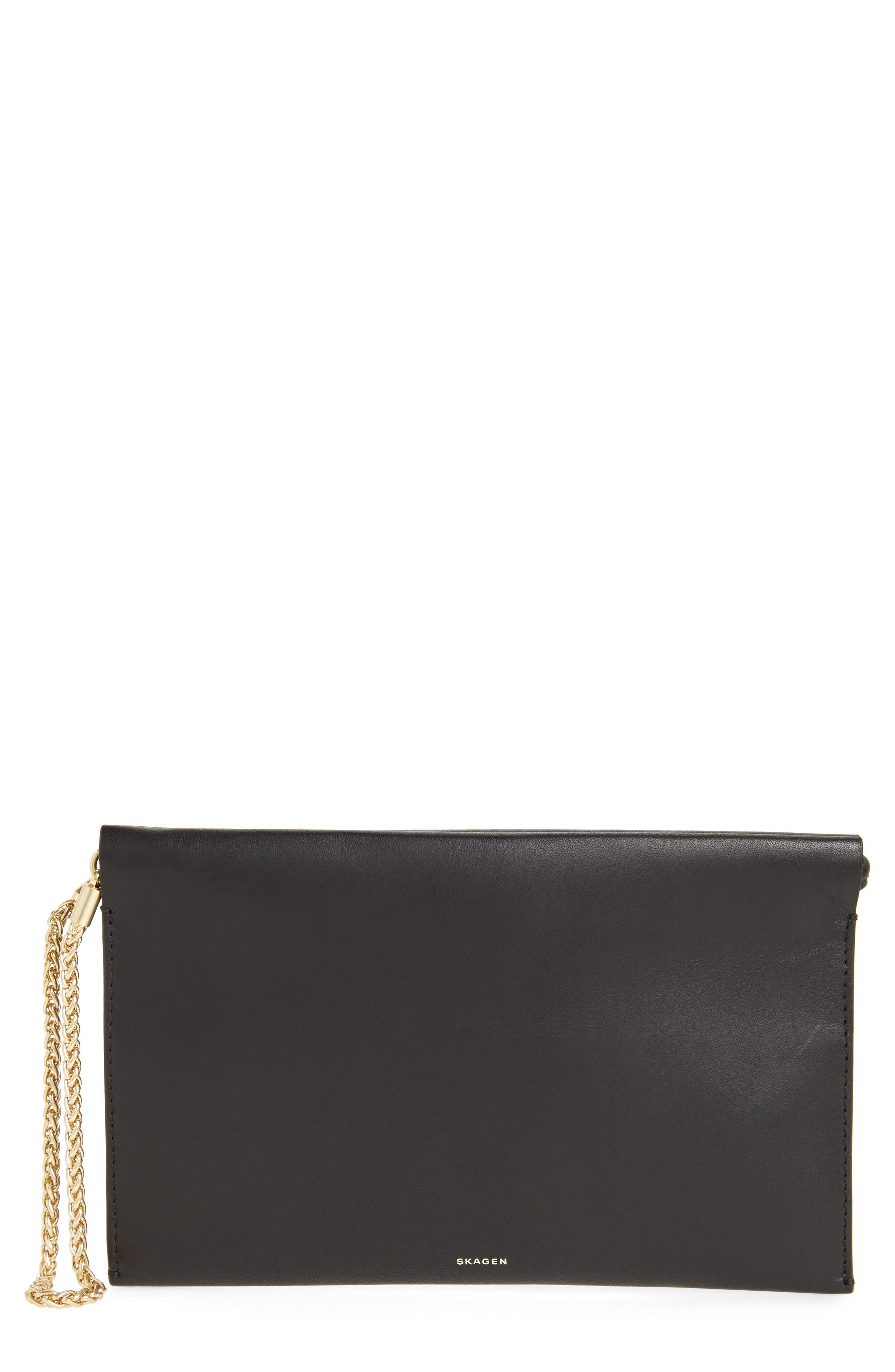 Leather Wristlet,                         Main,                         color, Black