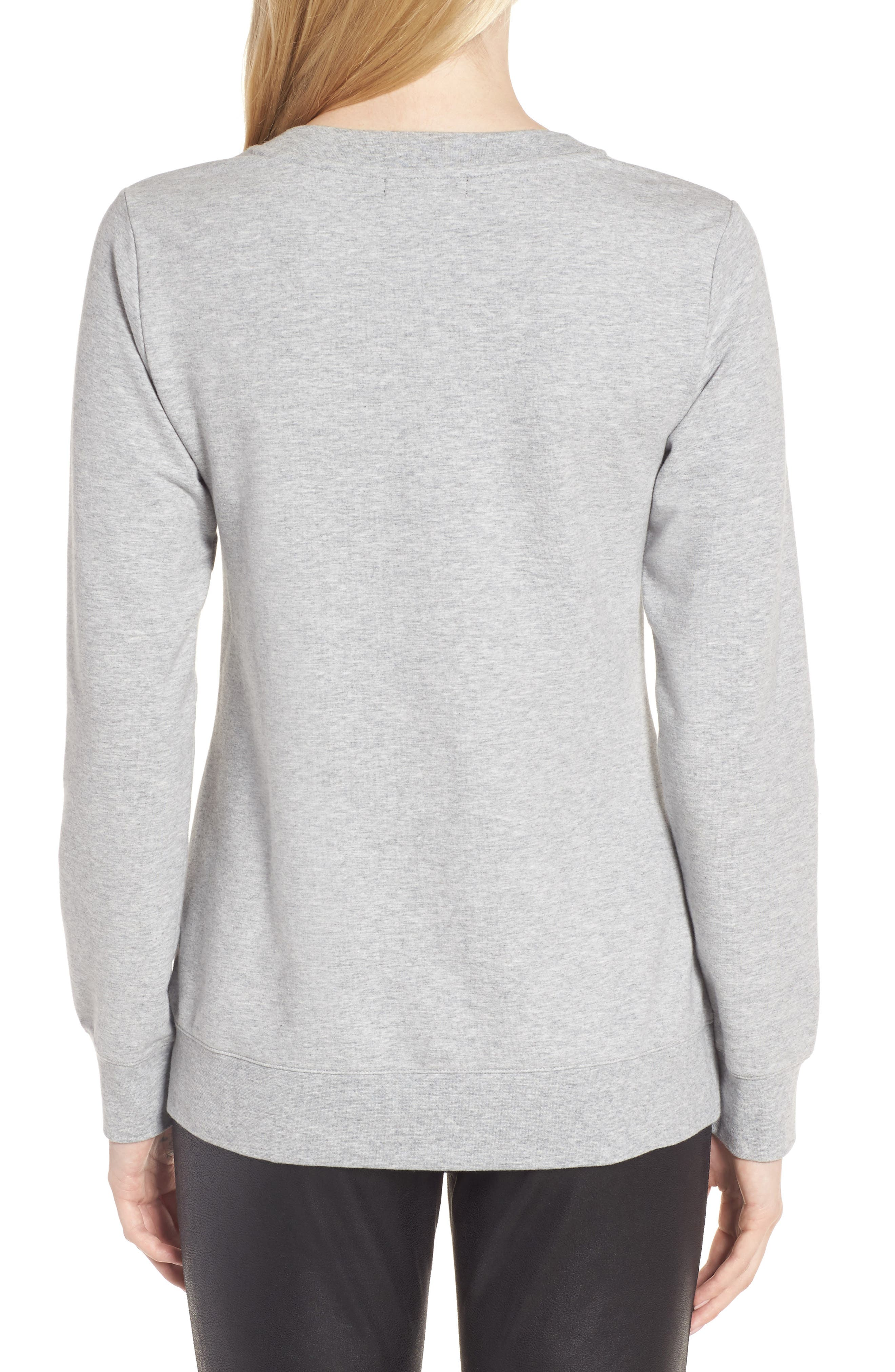 Lace-Up Sweatshirt,                             Alternate thumbnail 2, color,                             Grey Heather