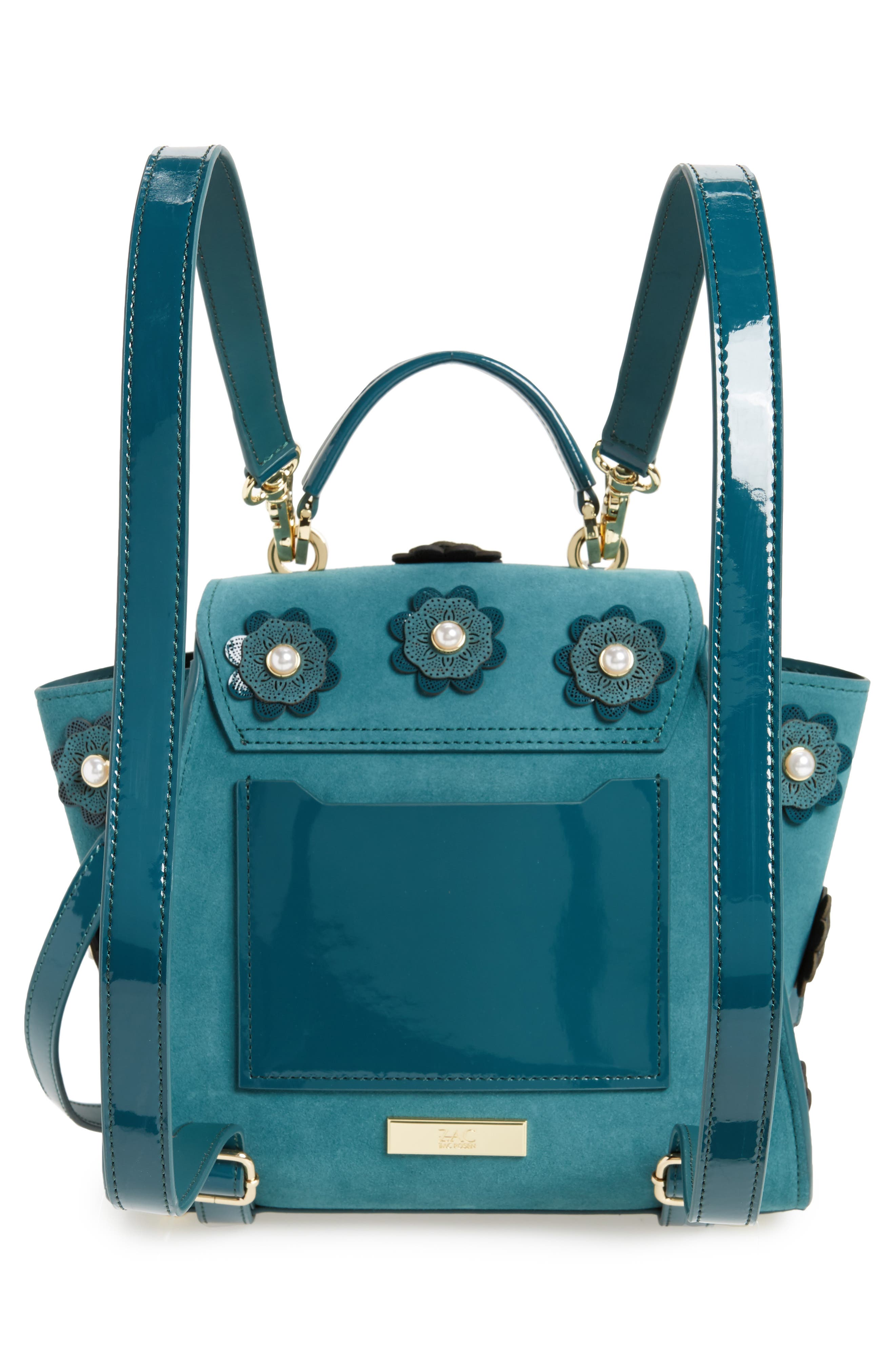 Eartha Iconic Convertible Leather Backpack,                             Alternate thumbnail 3, color,                             Teal