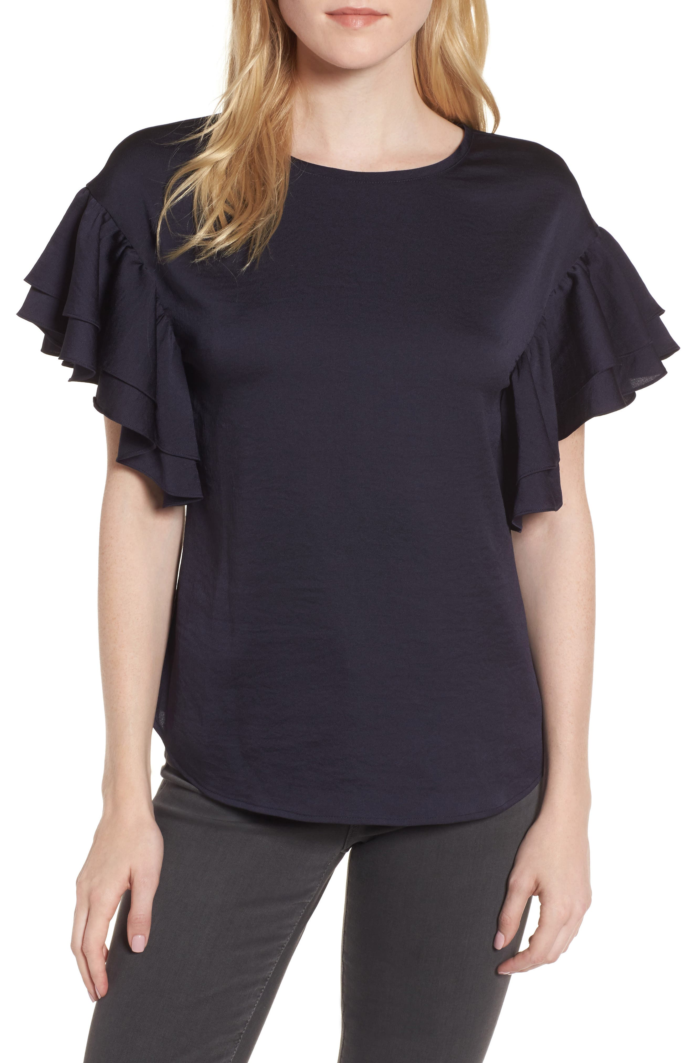 Ruffle Sleeve Top,                         Main,                         color, Navy Well