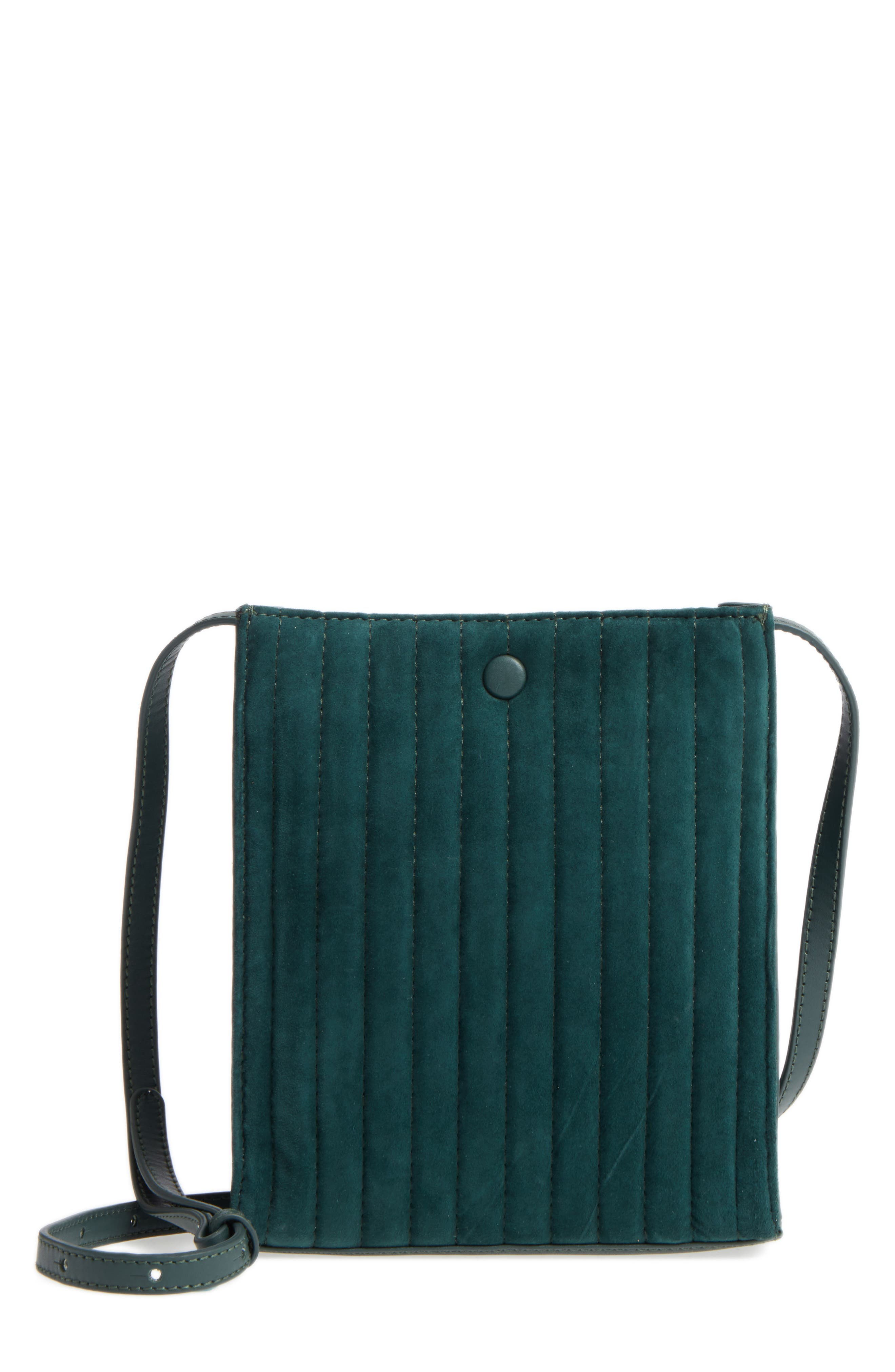 Camden Leather Crossbody Bag,                             Main thumbnail 1, color,                             Ink Green Quilted