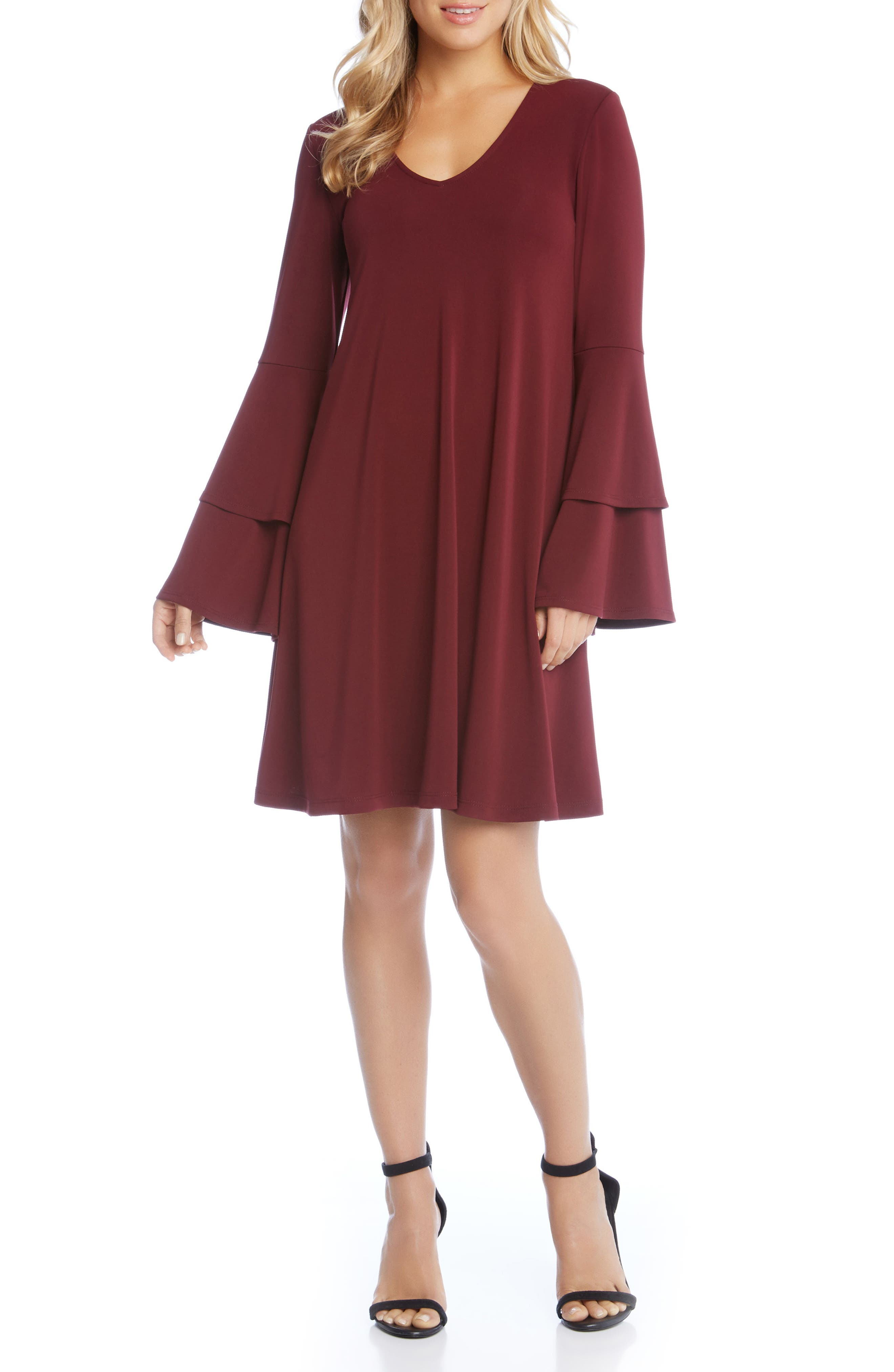Tiered Bell Sleeve A-Line Dress,                         Main,                         color, Wine
