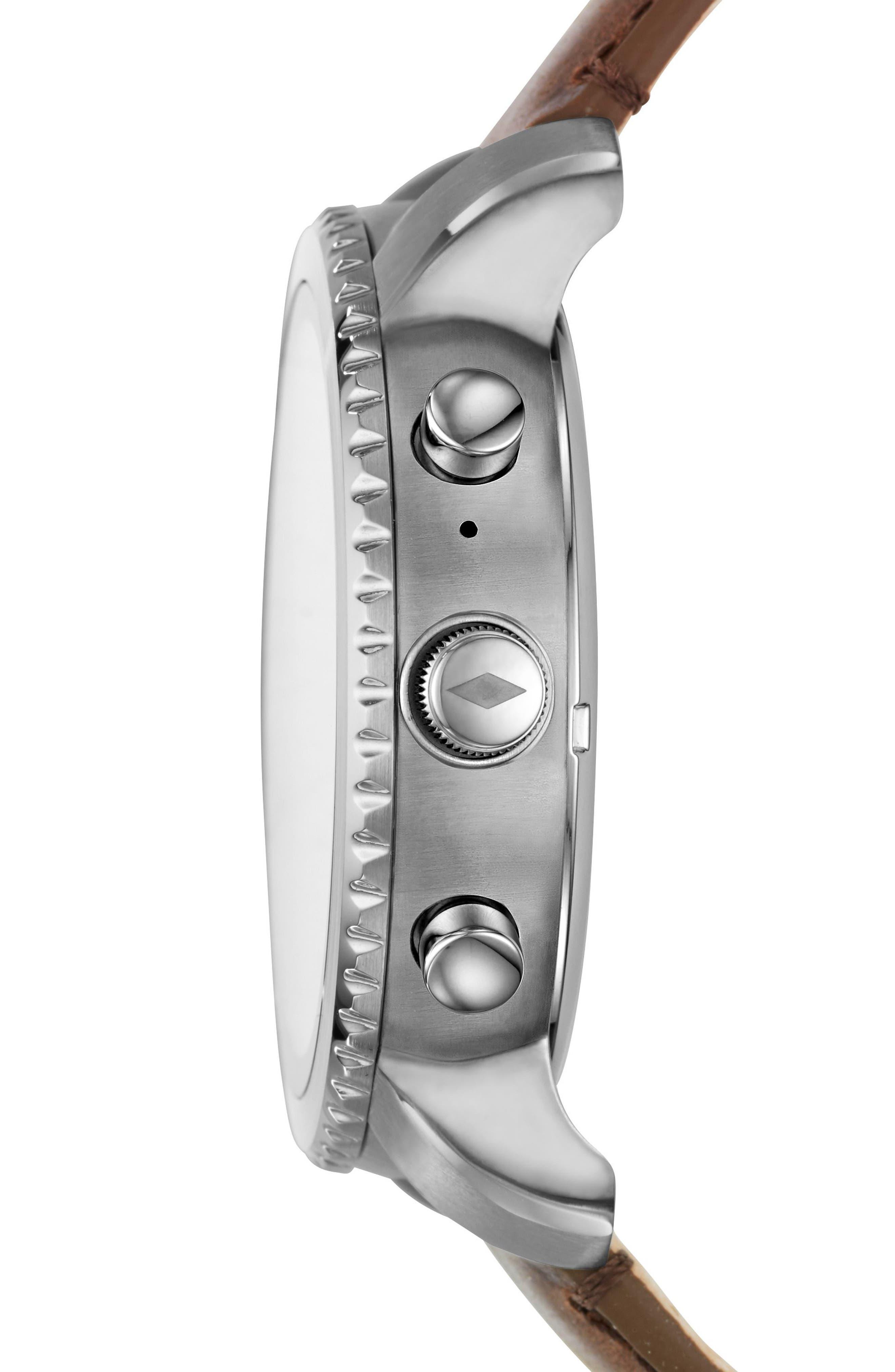 Explorist Gen 3 Leather Strap Smartwatch, 44mm,                             Alternate thumbnail 2, color,                             Brown/ Silver