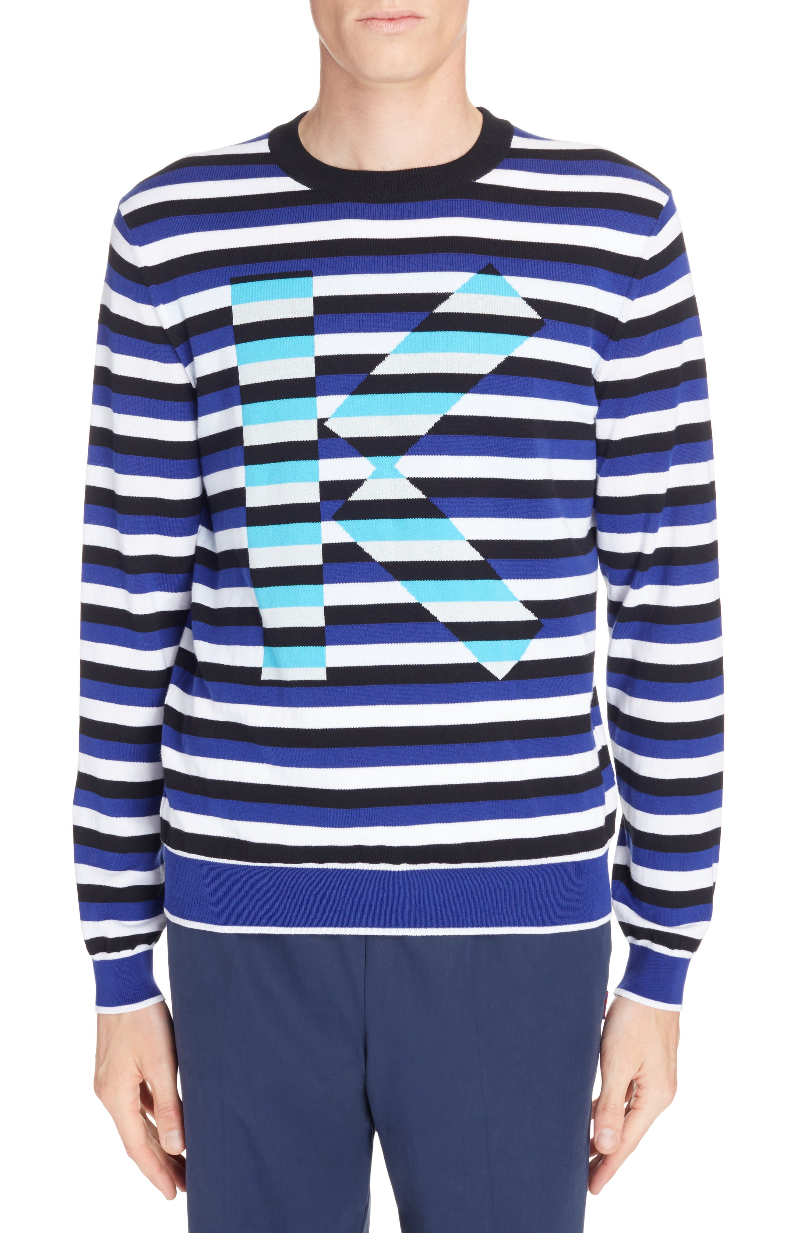 Large K Stripe Sweater,                             Main thumbnail 1, color,                             French Blue