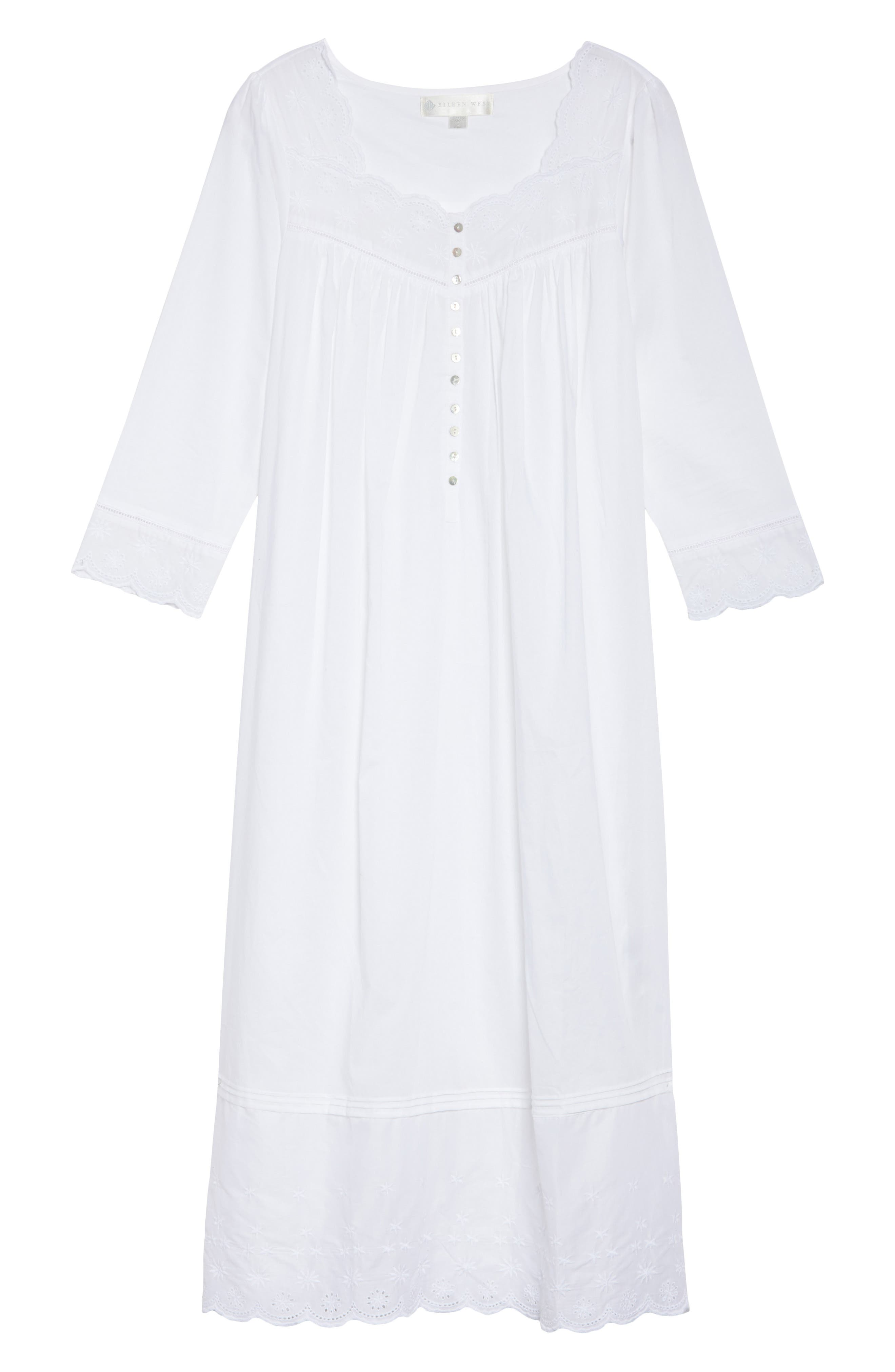 Eyelet Nightgown,                             Alternate thumbnail 4, color,                             White Floral
