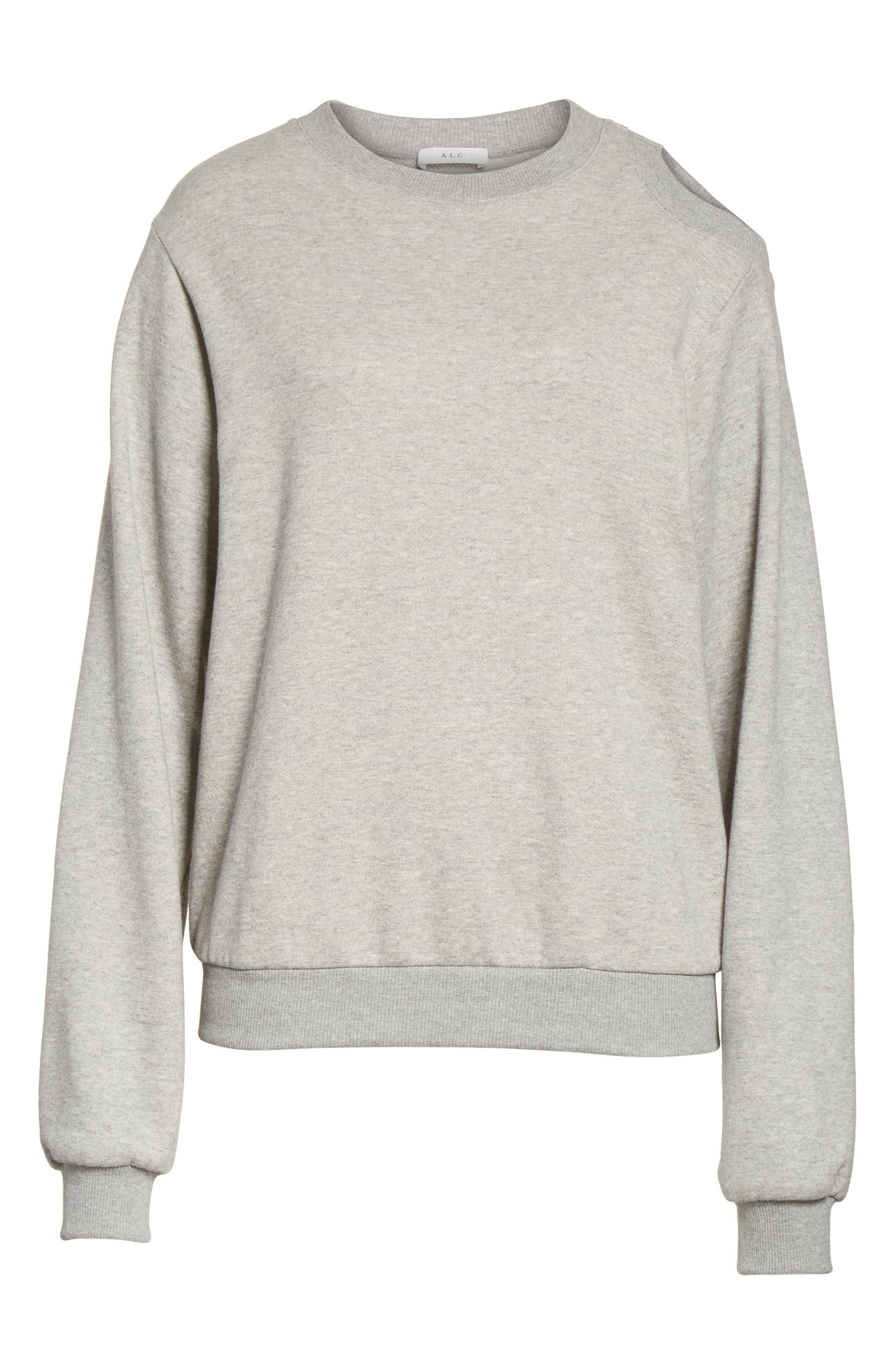 Covell Split Back Sweatshirt,                             Alternate thumbnail 6, color,                             Heather Grey