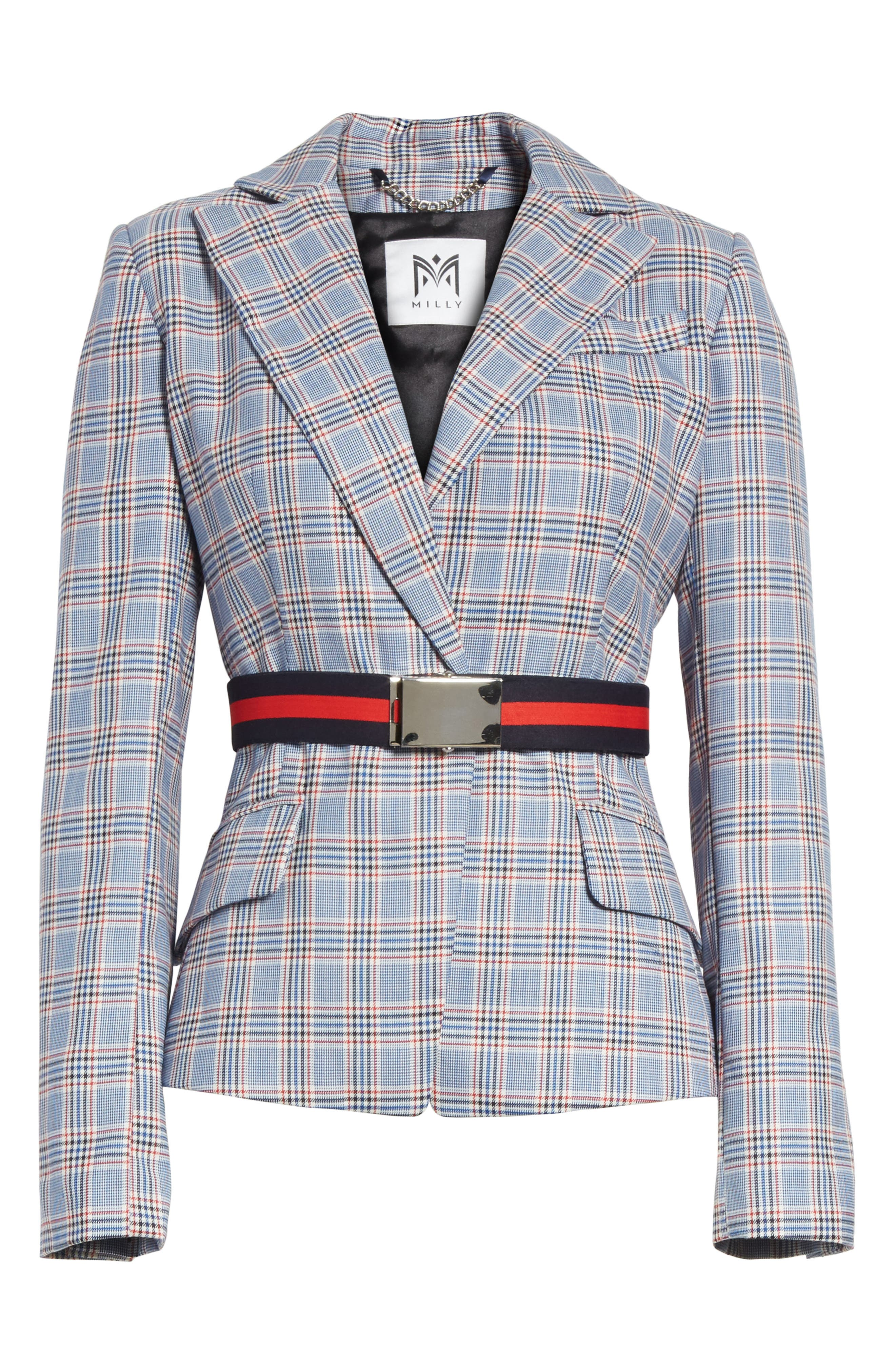 Check Suiting Belted Blazer,                             Alternate thumbnail 6, color,                             Multi