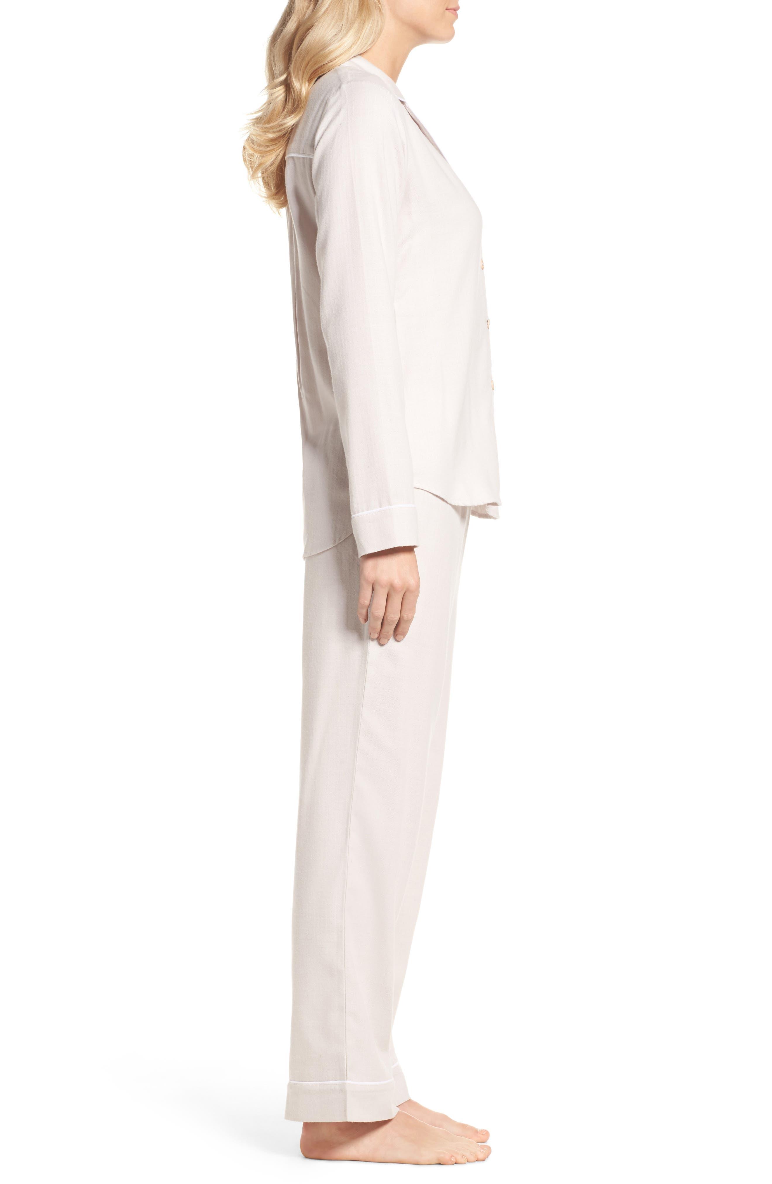 Raven Herringbone Pajamas,                             Alternate thumbnail 3, color,                             Ivory