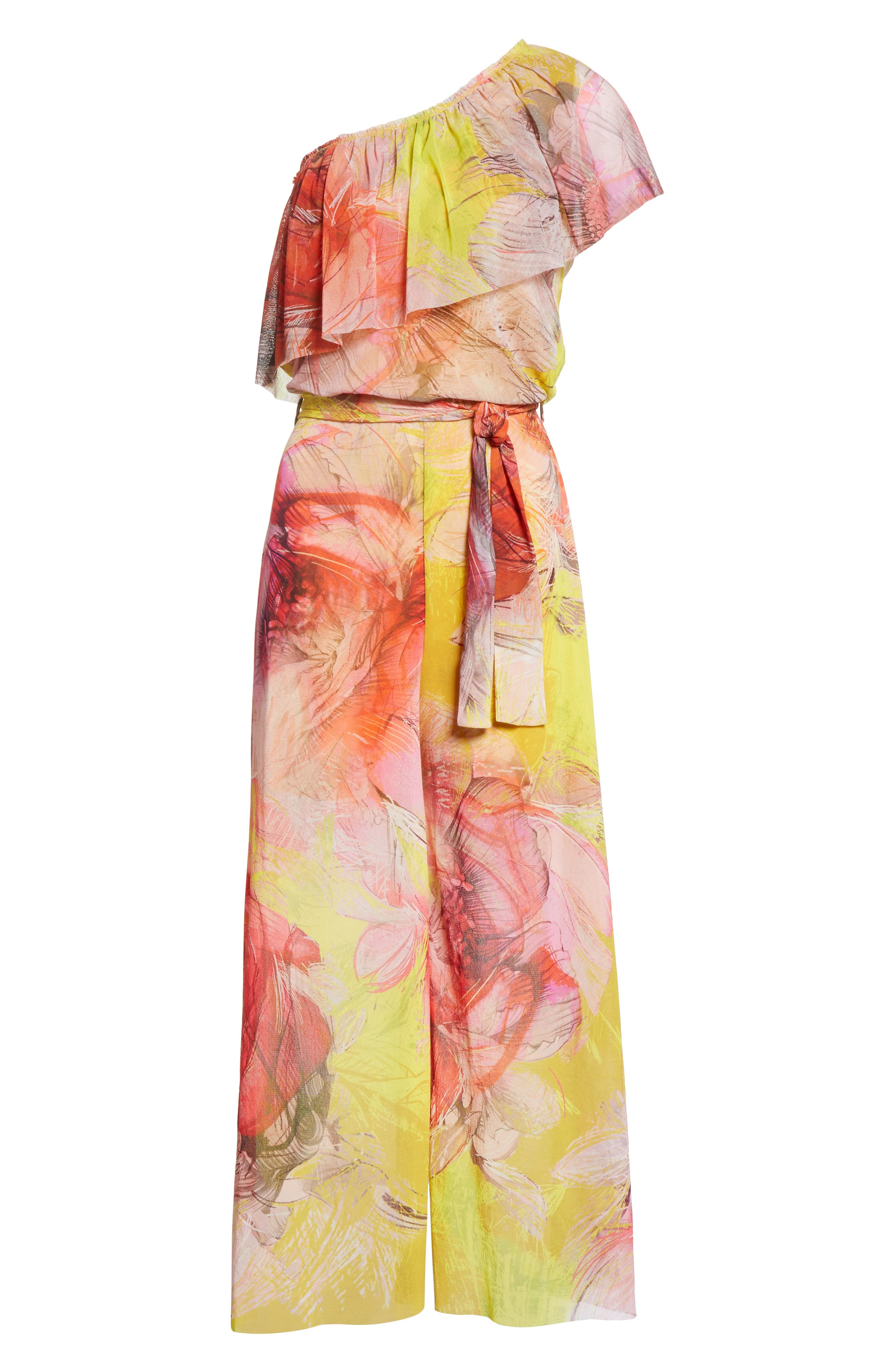 Print Tulle One-Shoulder Jumpsuit,                             Alternate thumbnail 7, color,                             Sole
