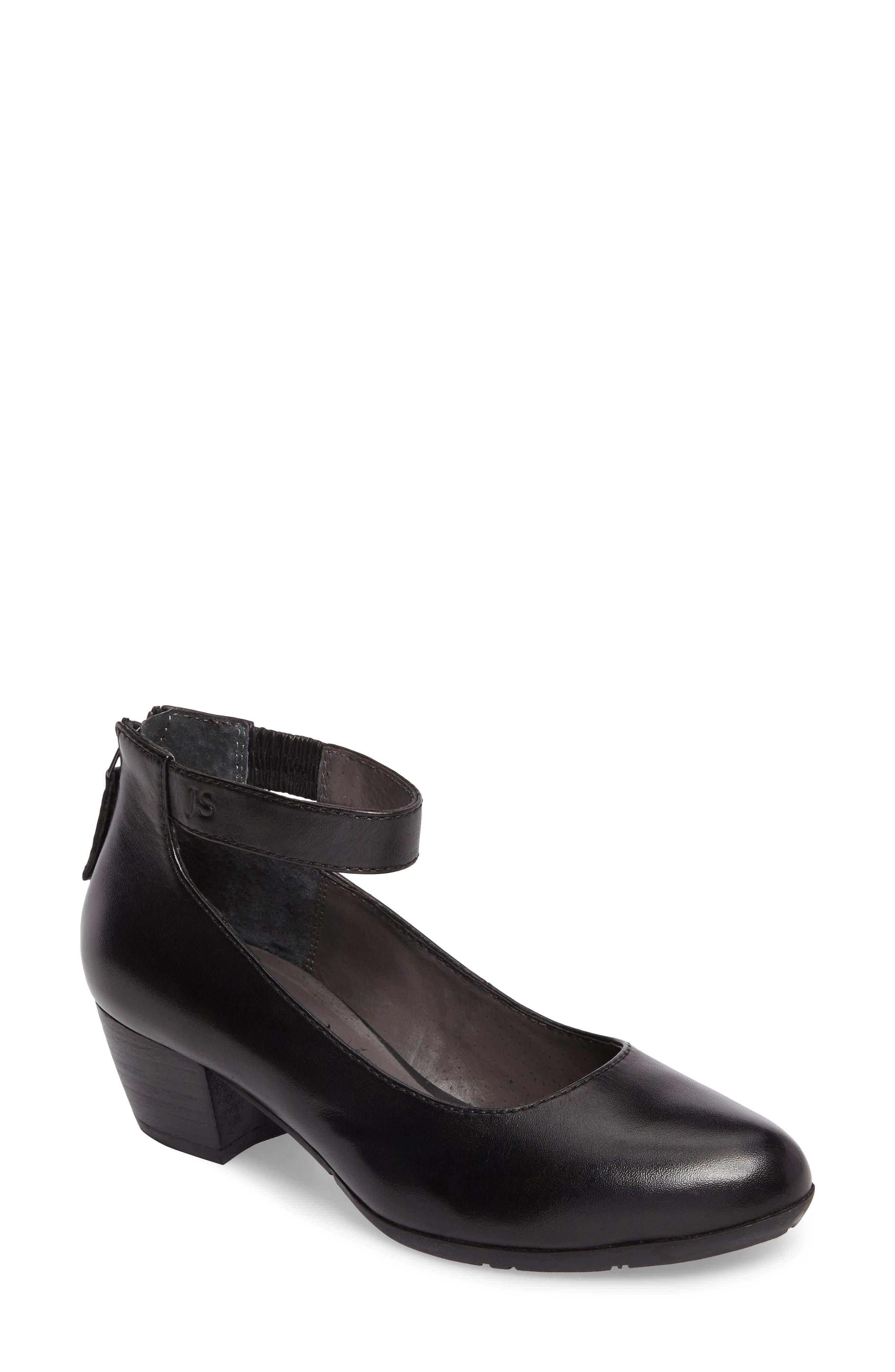 Sue 09 Ankle Strap Pump,                             Main thumbnail 1, color,                             Black Leather