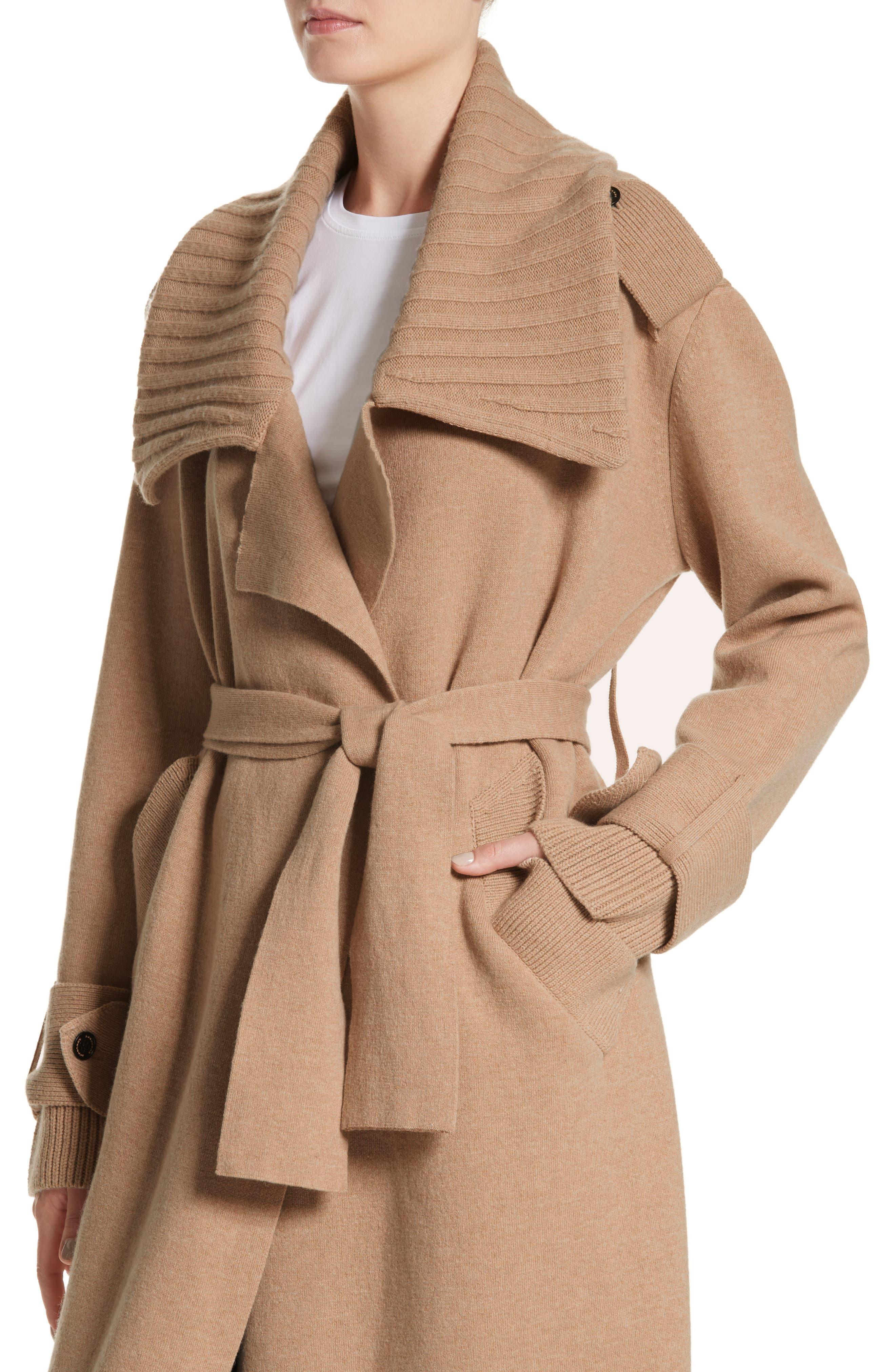 Piota Wool Blend Knit Trench Coat,                             Alternate thumbnail 4, color,                             Camel