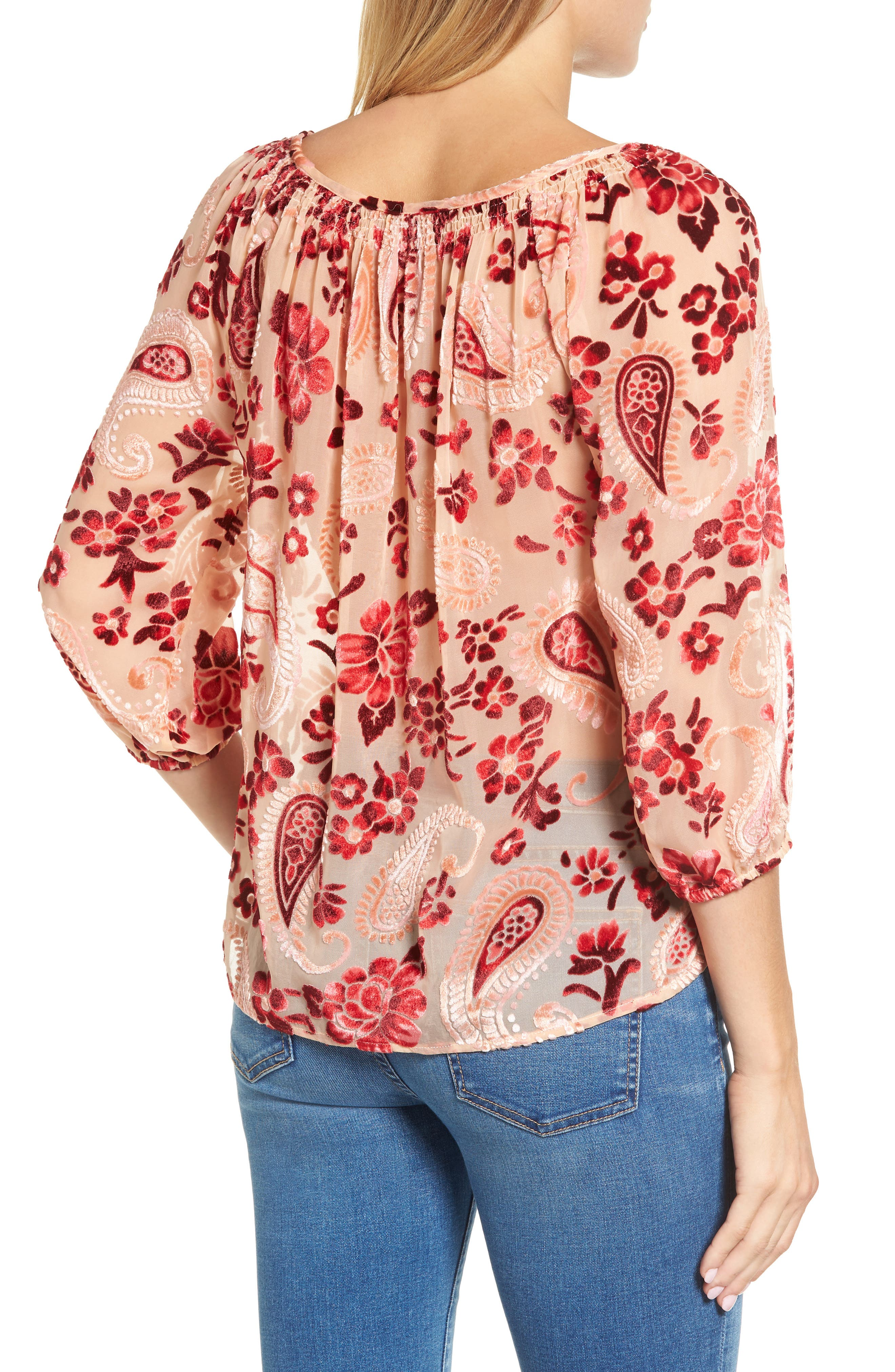 Alternate Image 2  - KAS NEW YORK Carlene Velvet Burnout Top