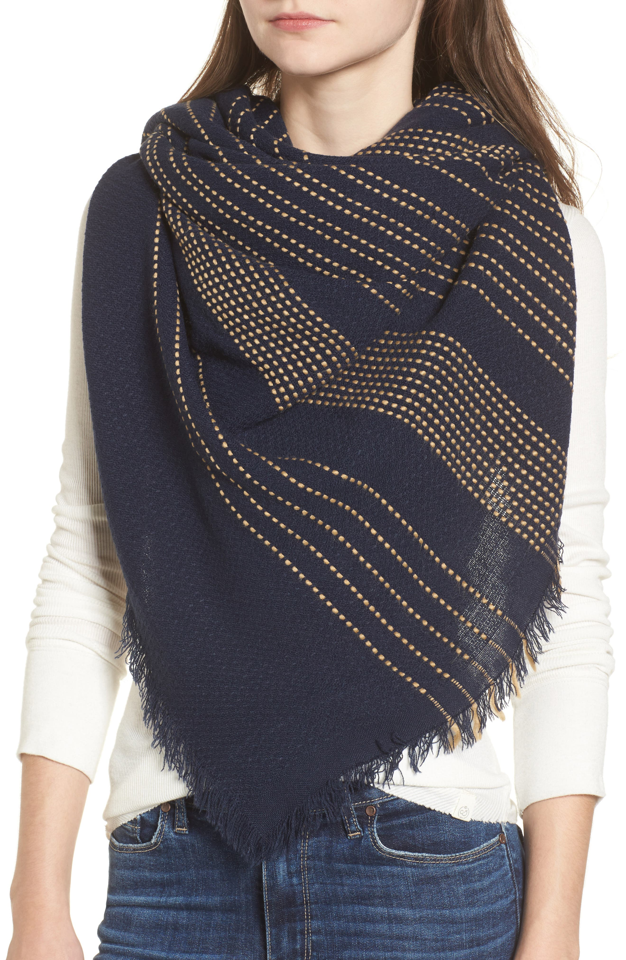 Textured Stripe Blanket Scarf,                             Alternate thumbnail 4, color,                             Navy