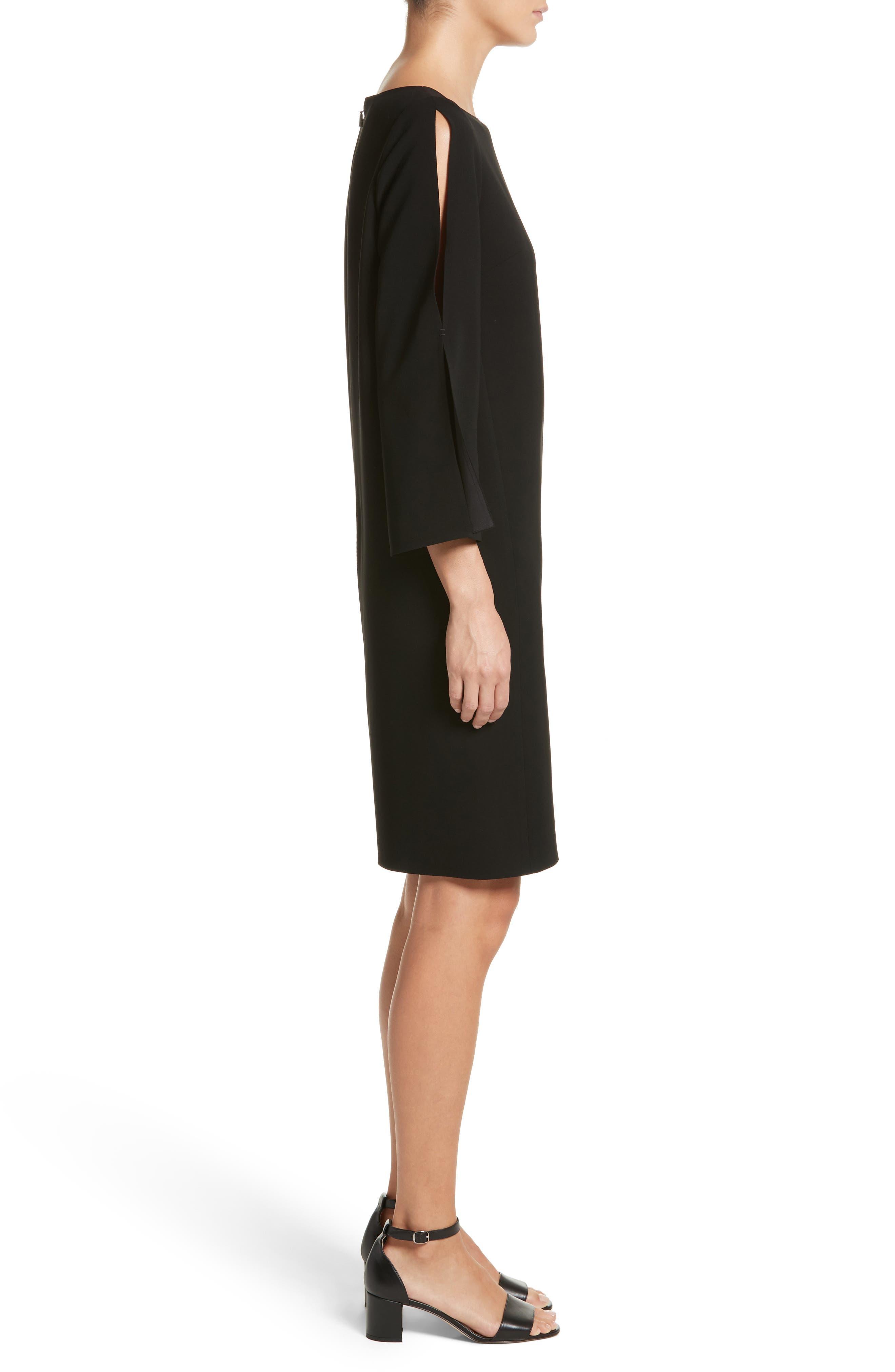 Candace Finesse Crepe Shift Dress,                             Alternate thumbnail 3, color,                             Black