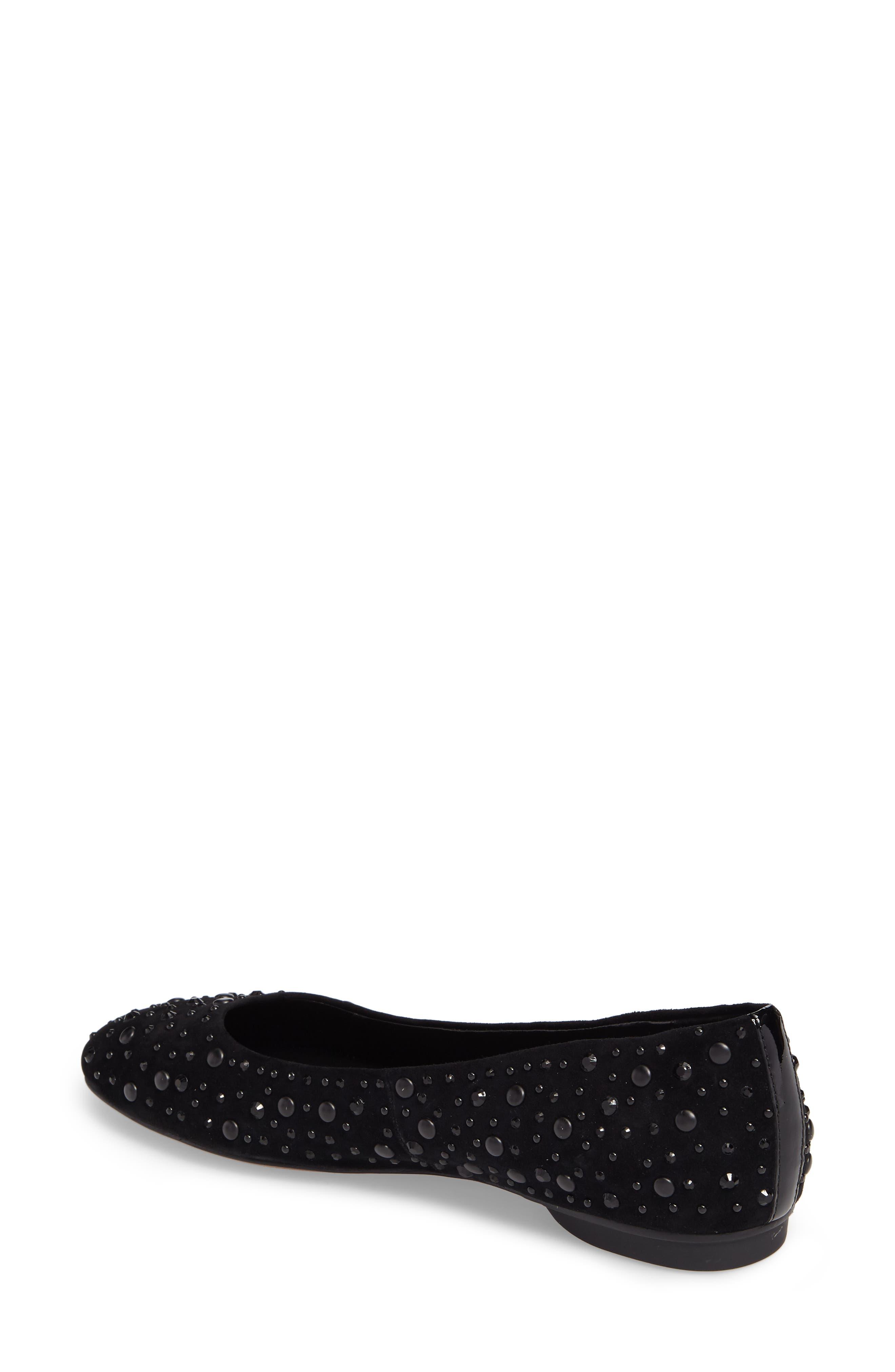 Dora Skimmer Flat,                             Alternate thumbnail 2, color,                             Black Leather