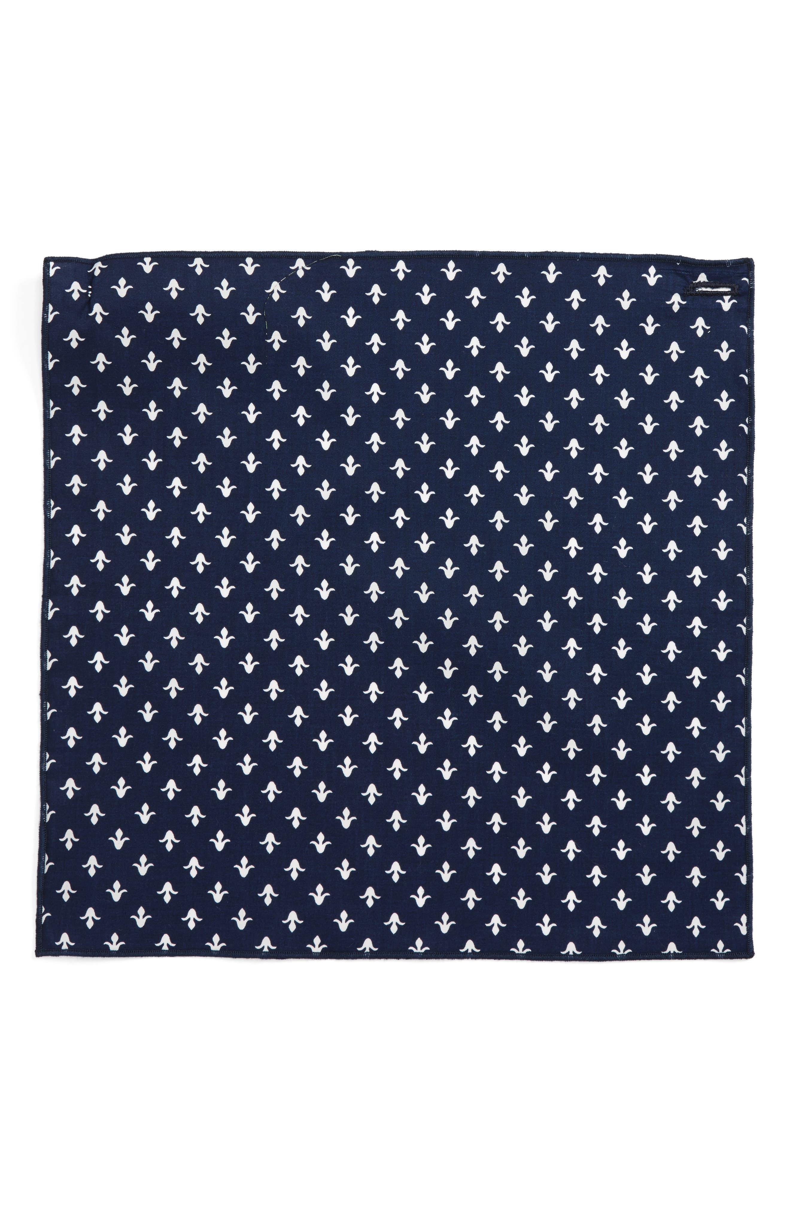 Wall Paper Cotton Pocket Square,                             Alternate thumbnail 2, color,                             Navy