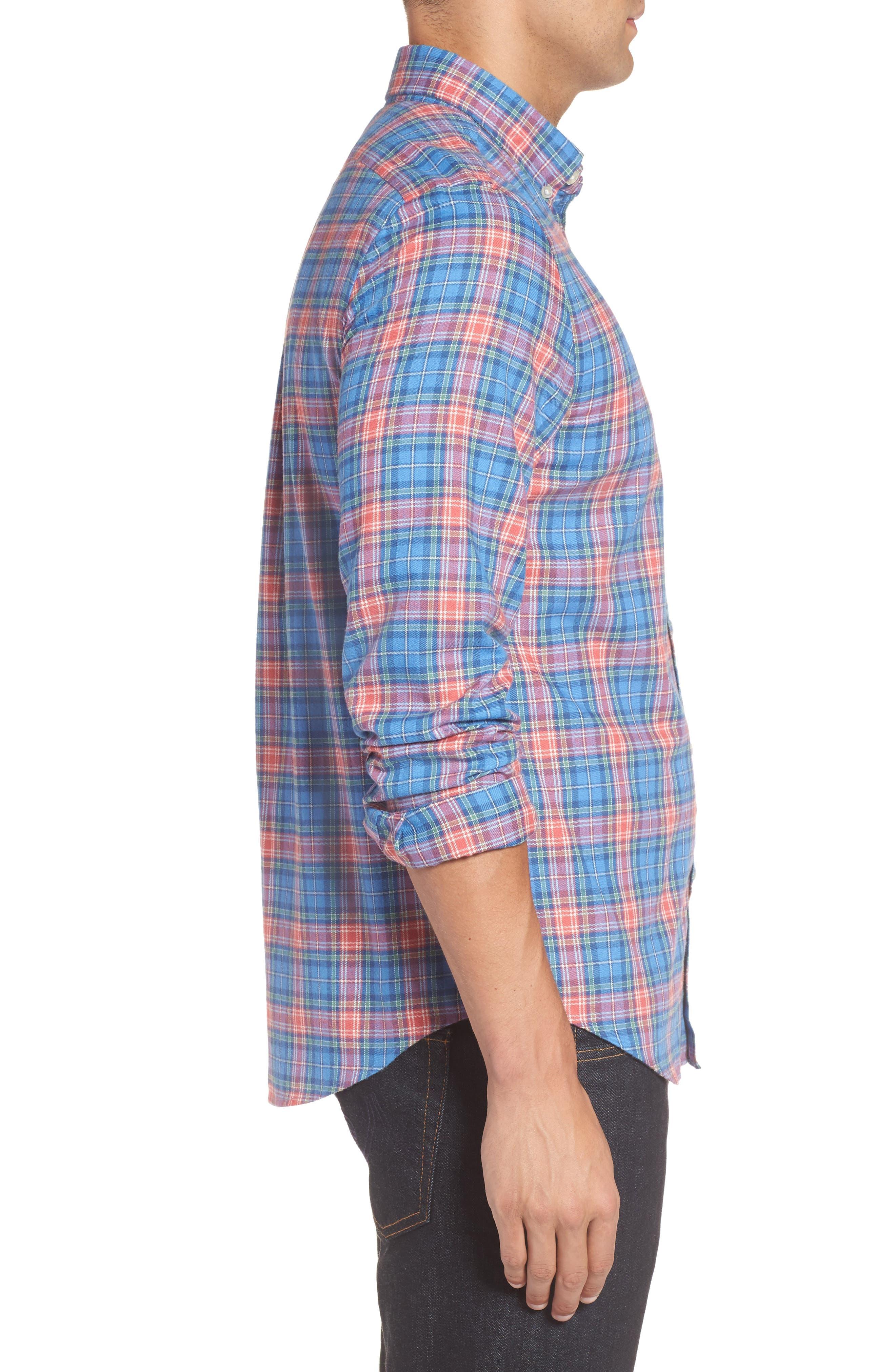 Kingsley Park Slim Fit Plaid Sport Shirt,                             Alternate thumbnail 3, color,                             Bimini Blue