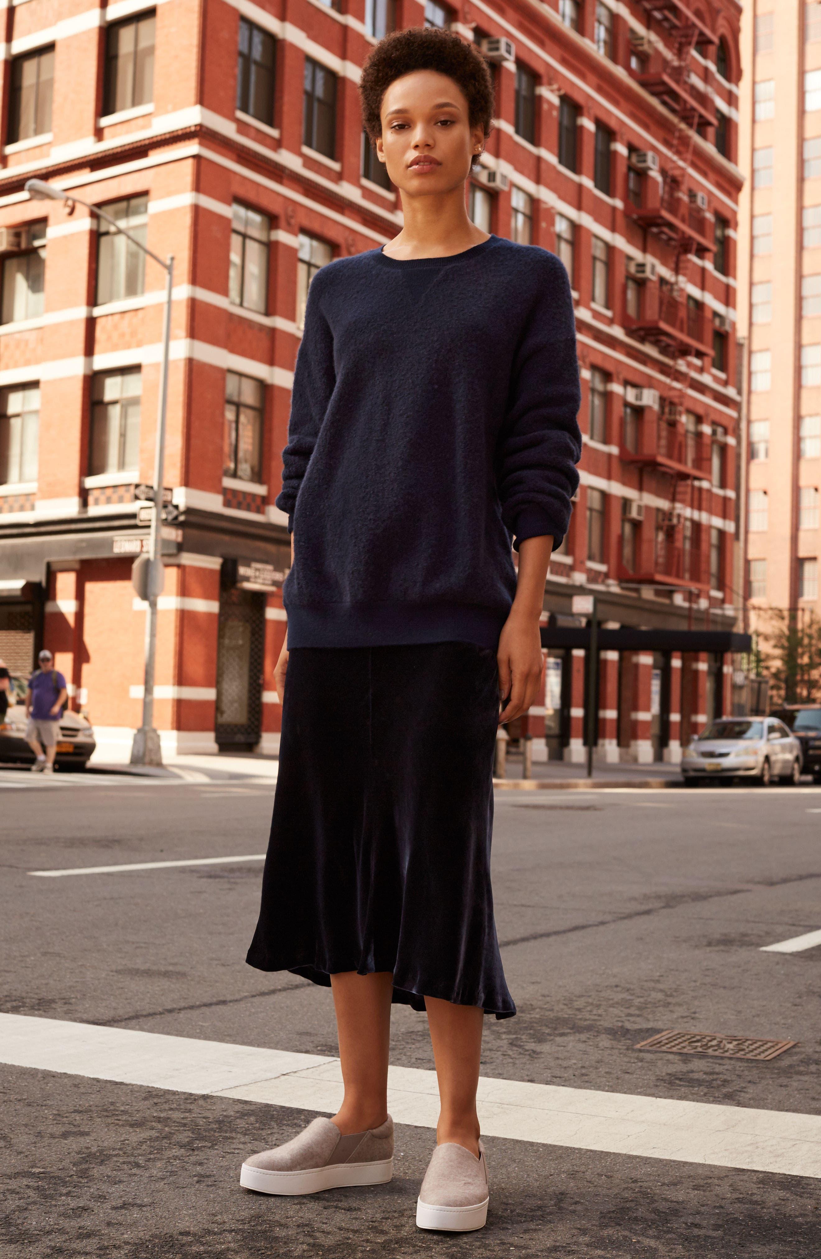 High/Low Velvet Skirt,                             Alternate thumbnail 3, color,