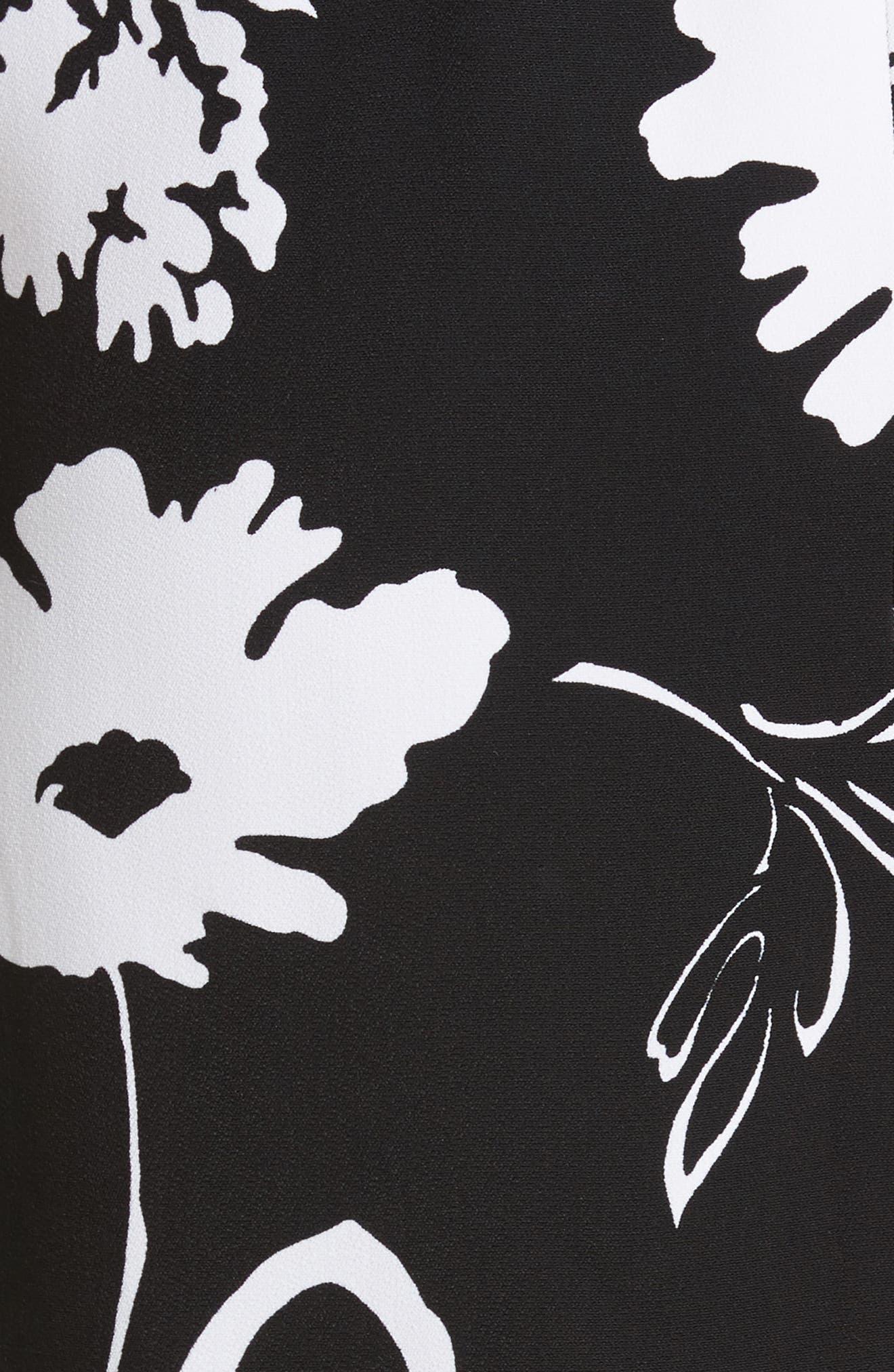 Floral Print Pencil Skirt,                             Alternate thumbnail 5, color,                             Black / White