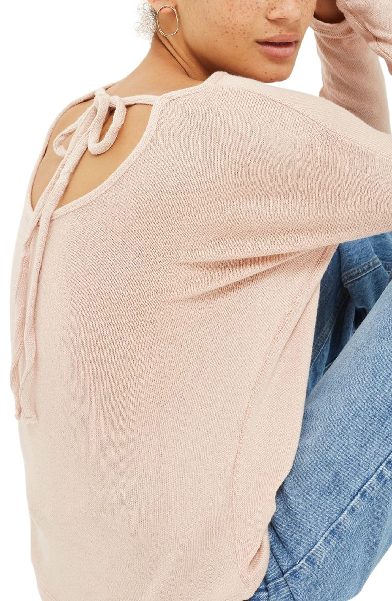 Tie Back Sweater,                             Alternate thumbnail 2, color,                             Nude