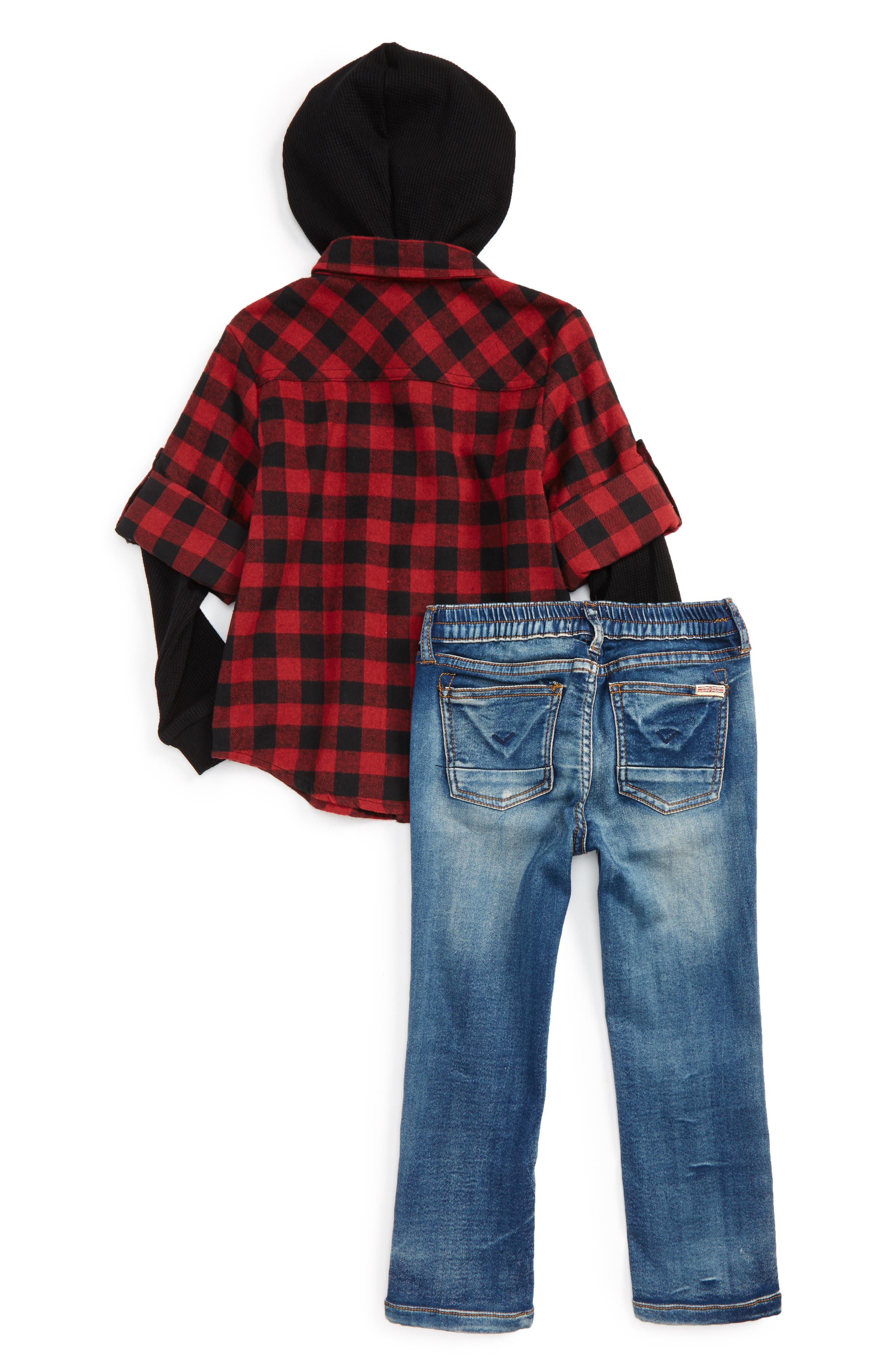 Hooded Flannel Shirt & Stretch Pants Set,                             Alternate thumbnail 2, color,                             Ink