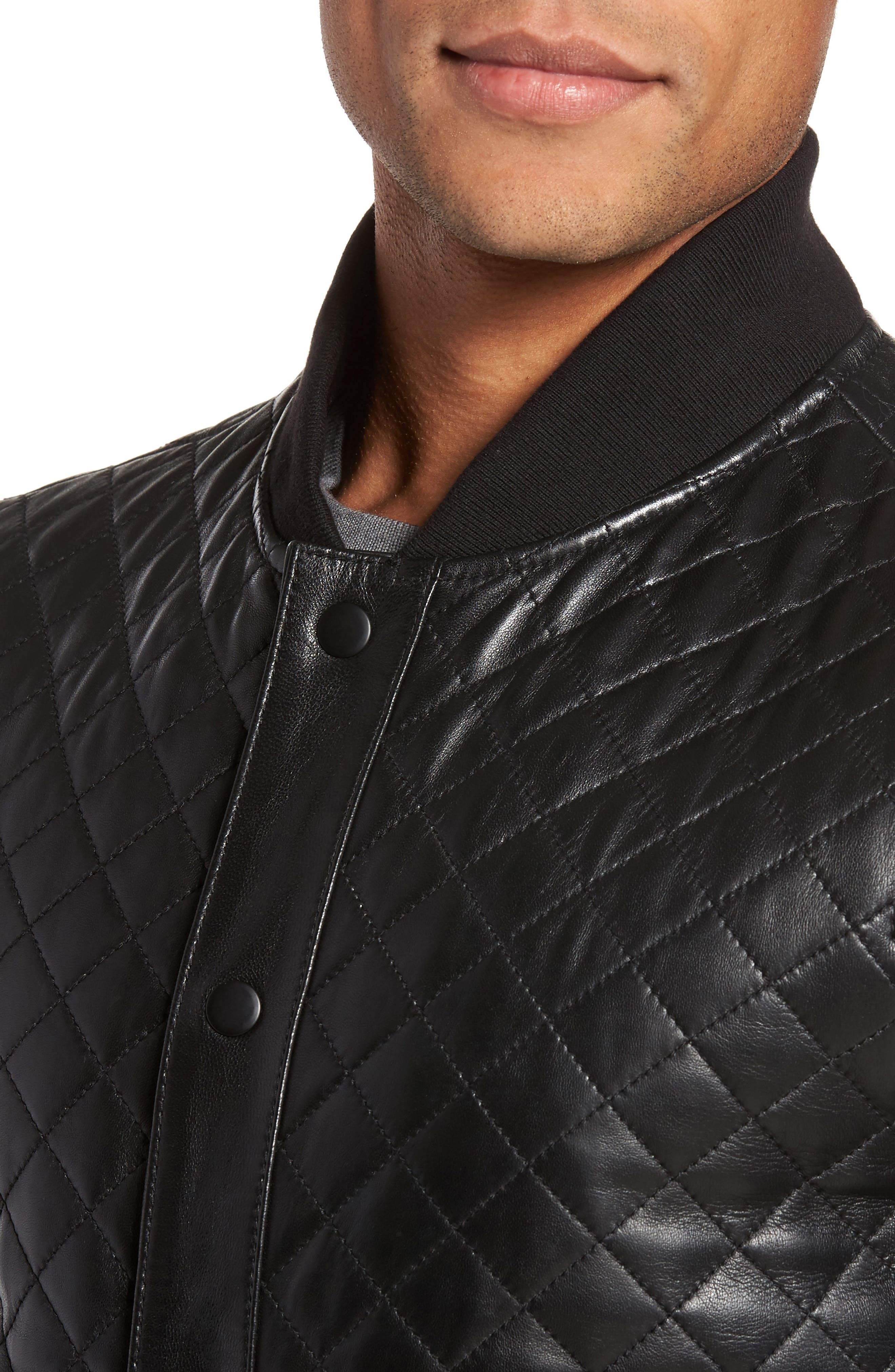 Alternate Image 4  - LAMARQUE Quilted Leather Baseball Jacket