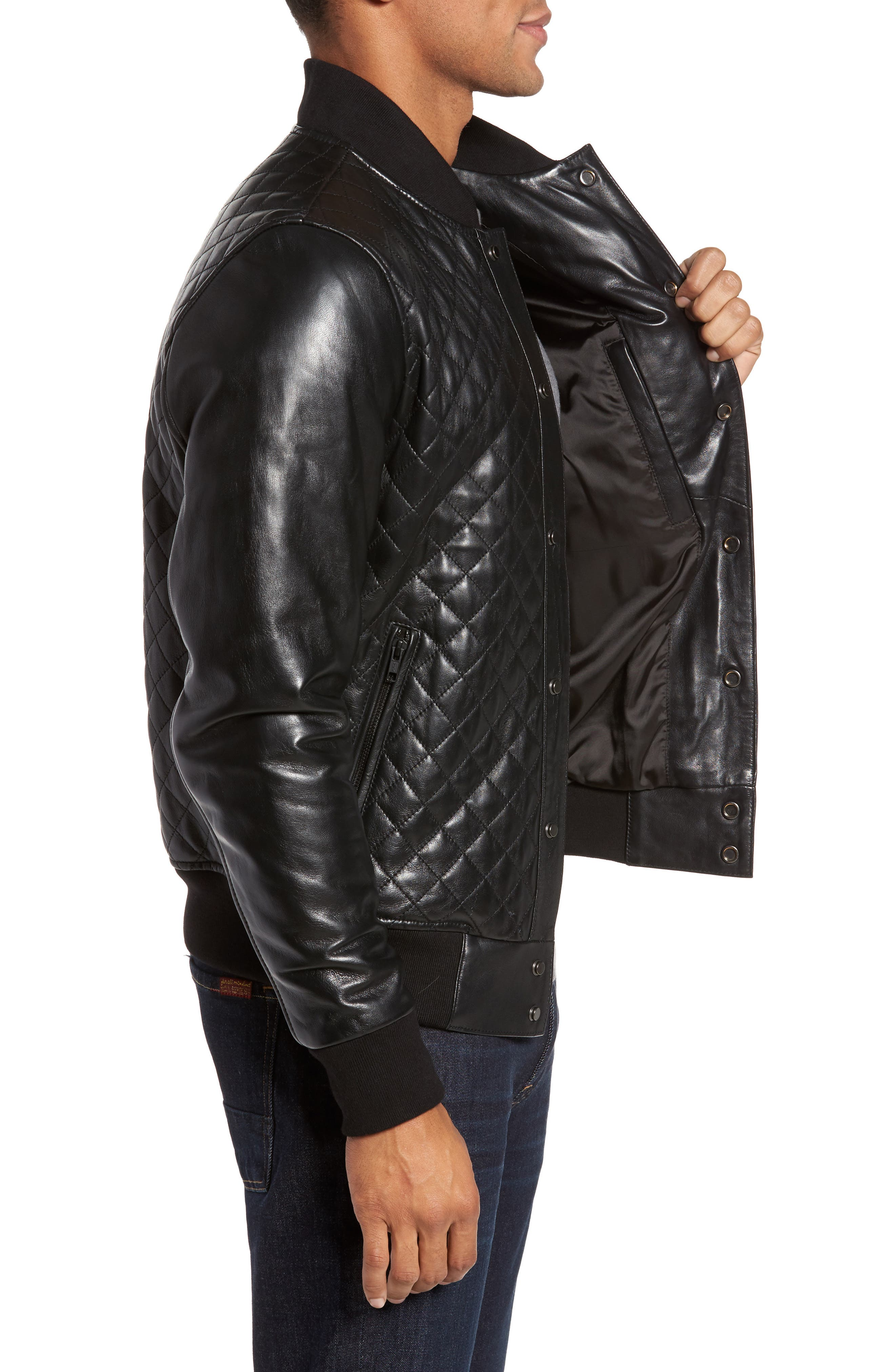 Alternate Image 3  - LAMARQUE Quilted Leather Baseball Jacket