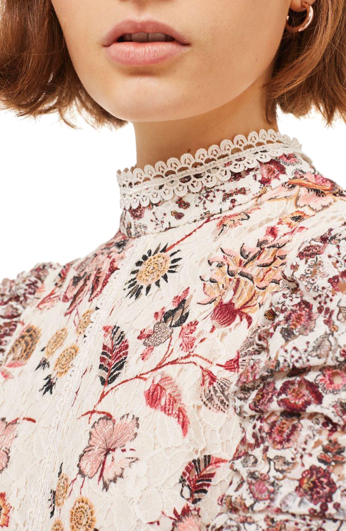Alternate Image 4  - Topshop Floral Lace Strappy Back Dress