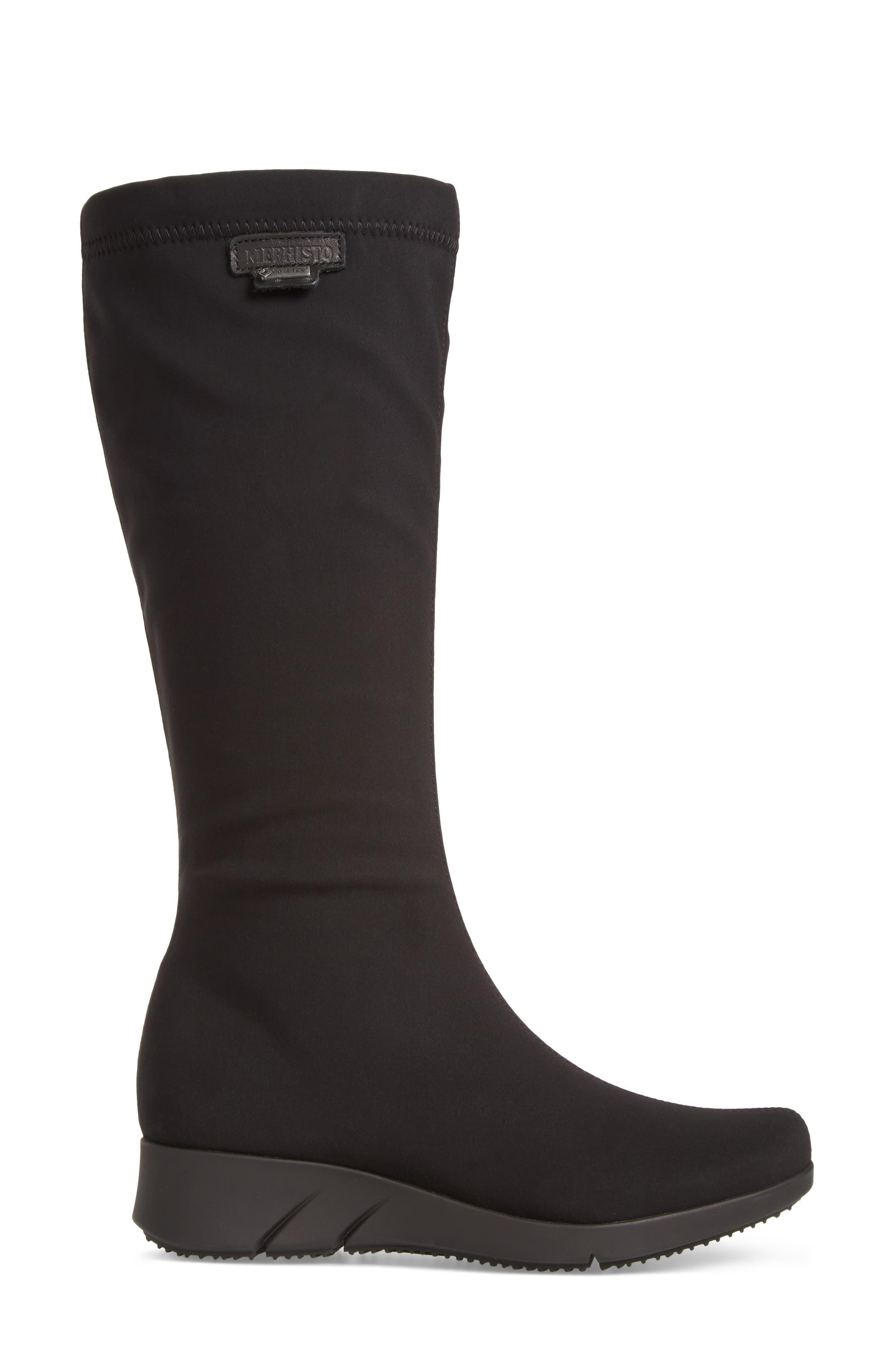 Minda Waterproof Wedge Boot,                             Alternate thumbnail 3, color,                             Black Fabric
