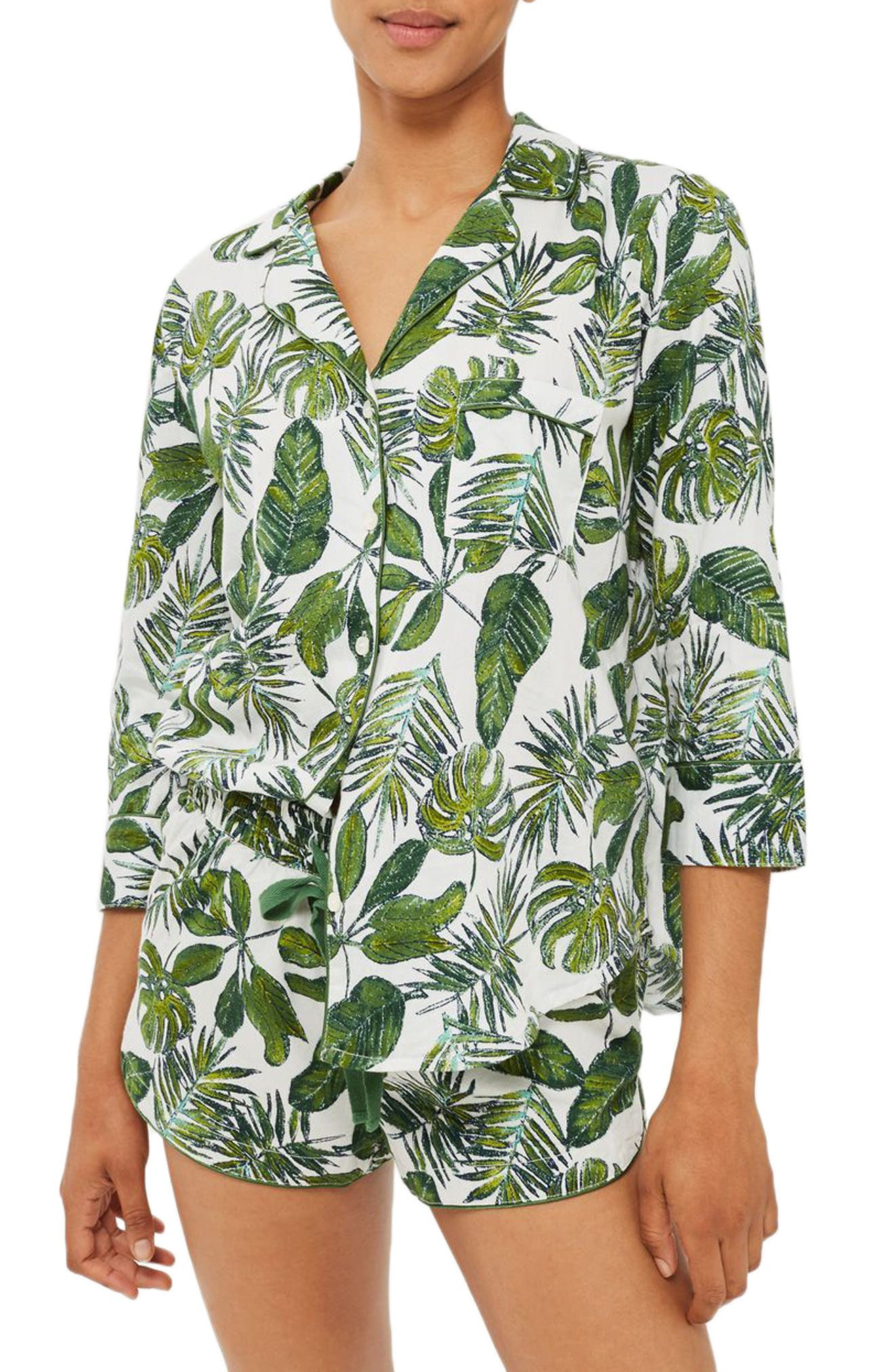 Topshop Pamela Palm Print Short Pajamas