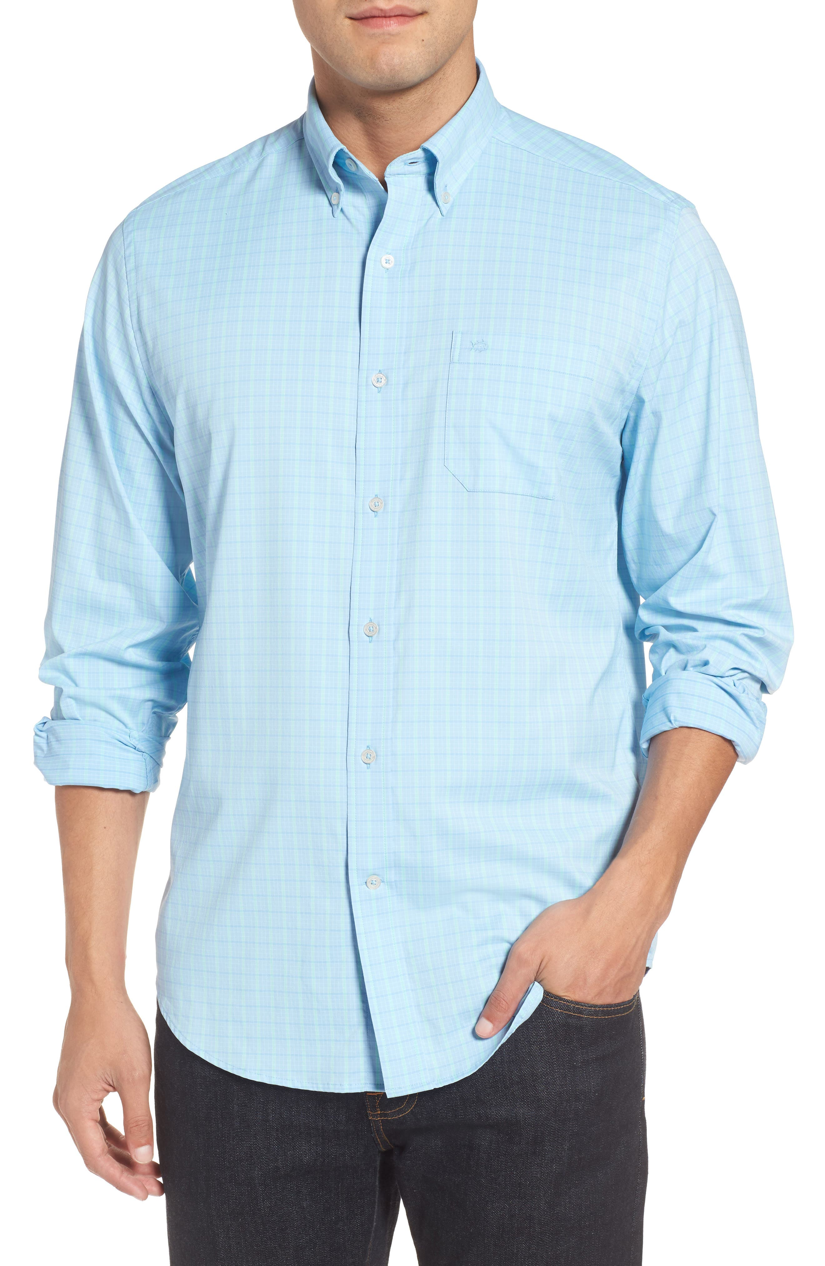 Intercoastal Gordia Plaid Sport Shirt,                         Main,                         color, Sky Blue