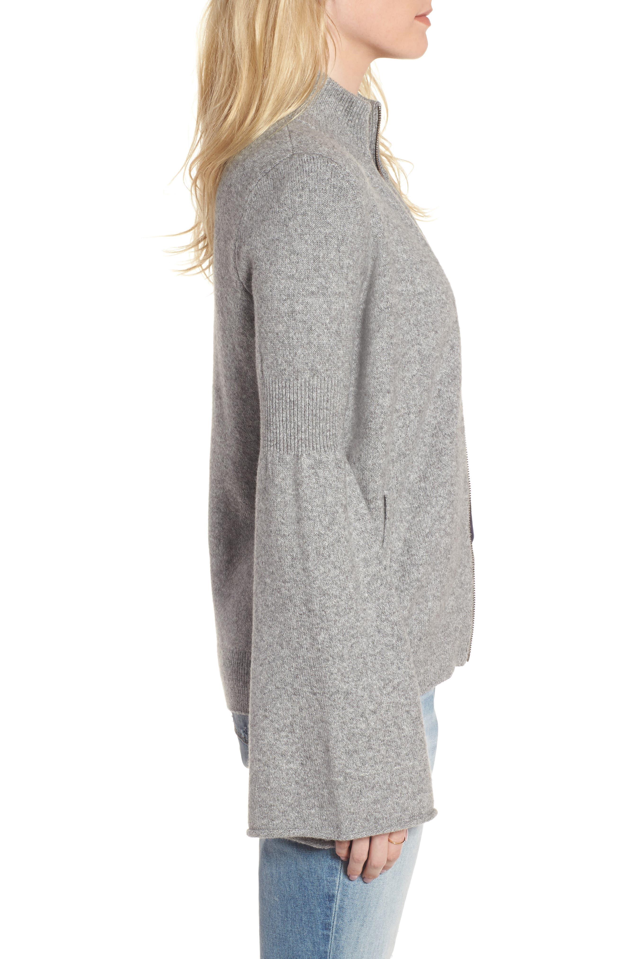 Flare Sleeve Track Jacket,                             Alternate thumbnail 3, color,                             Grey Heather