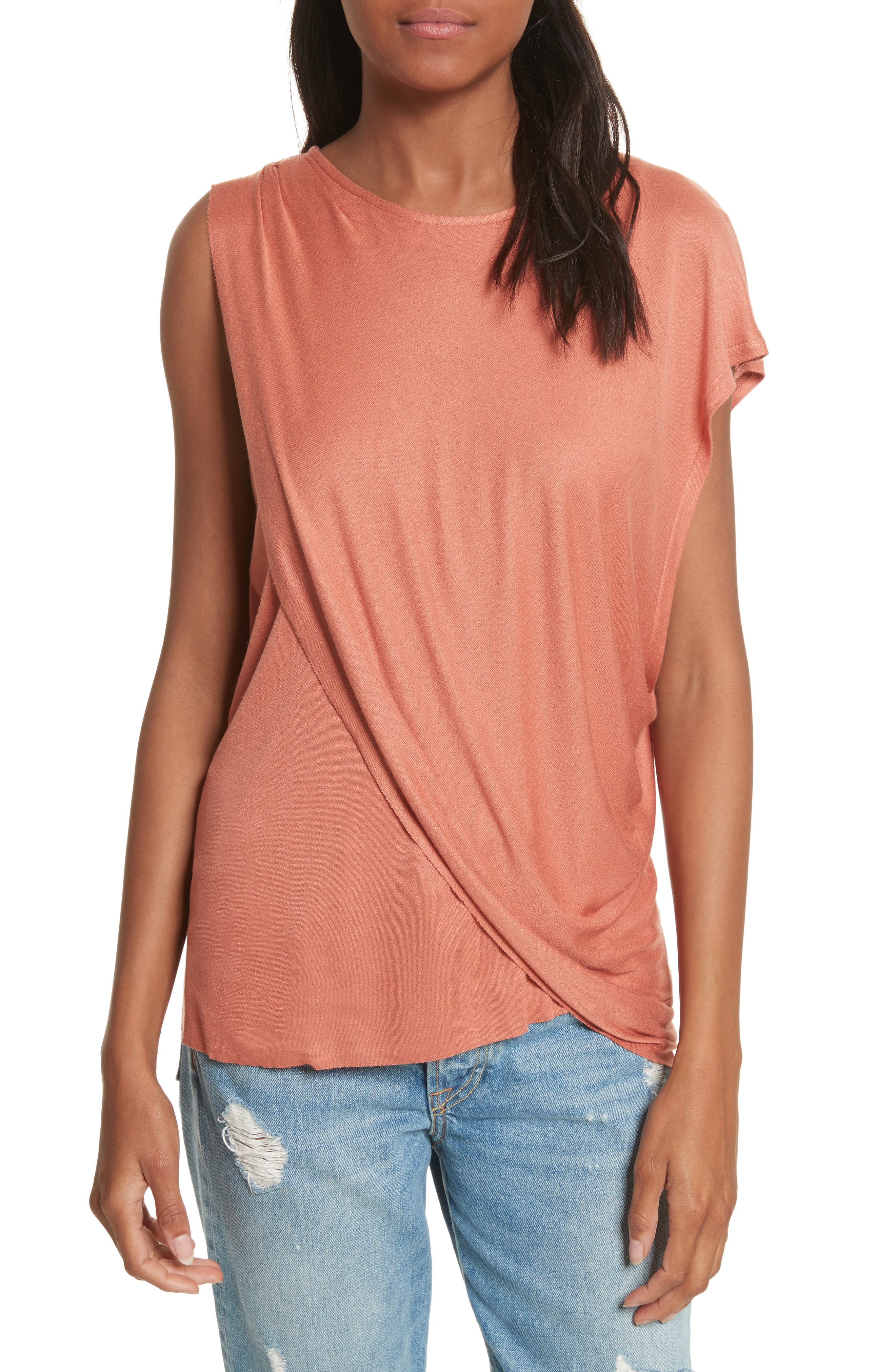Willow Shine One-Shoulder Draped Jersey Tee,                             Main thumbnail 1, color,                             Terracotta