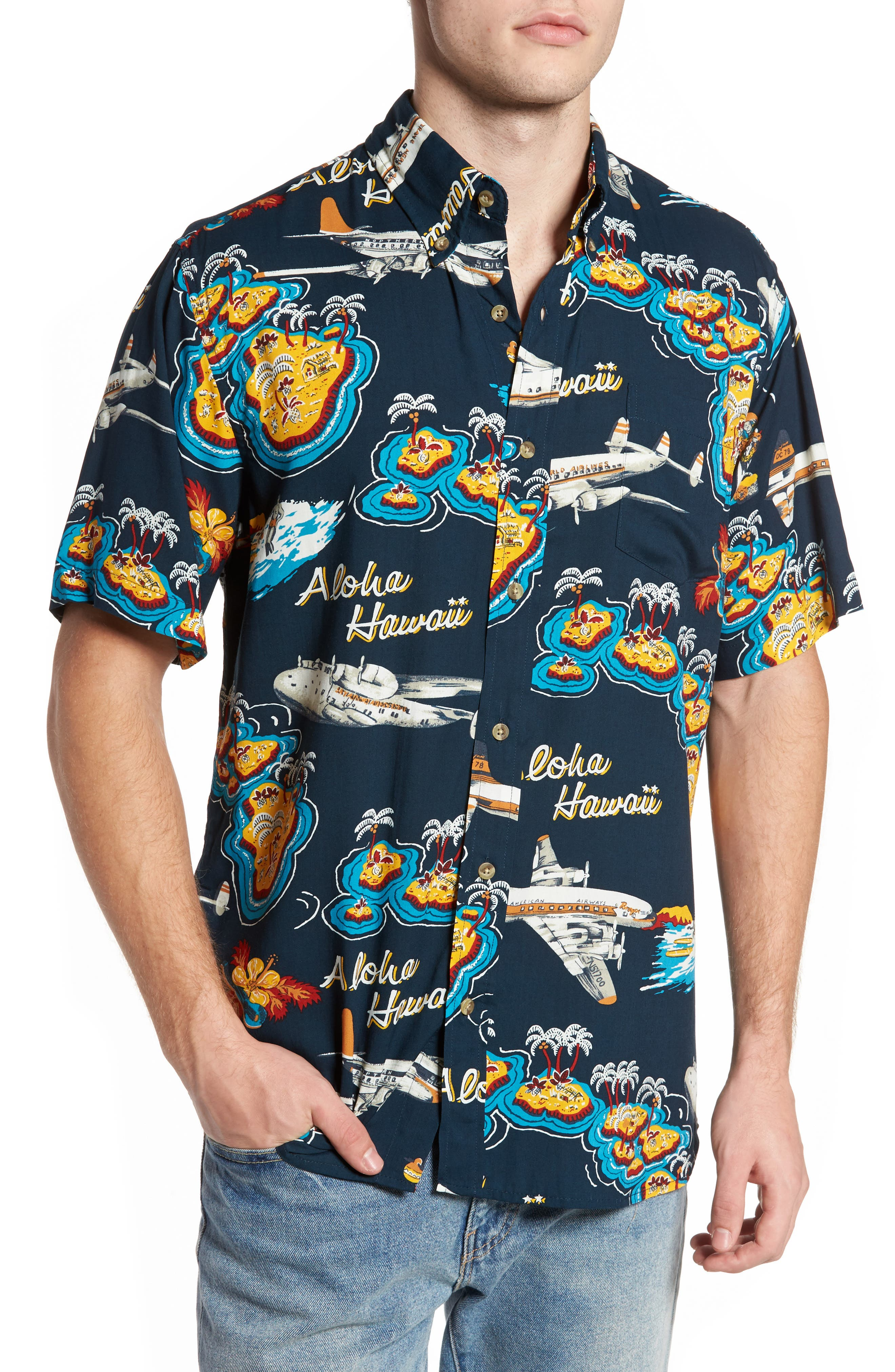 Birds in Paradise Modern Fit Shirt,                         Main,                         color, Navy