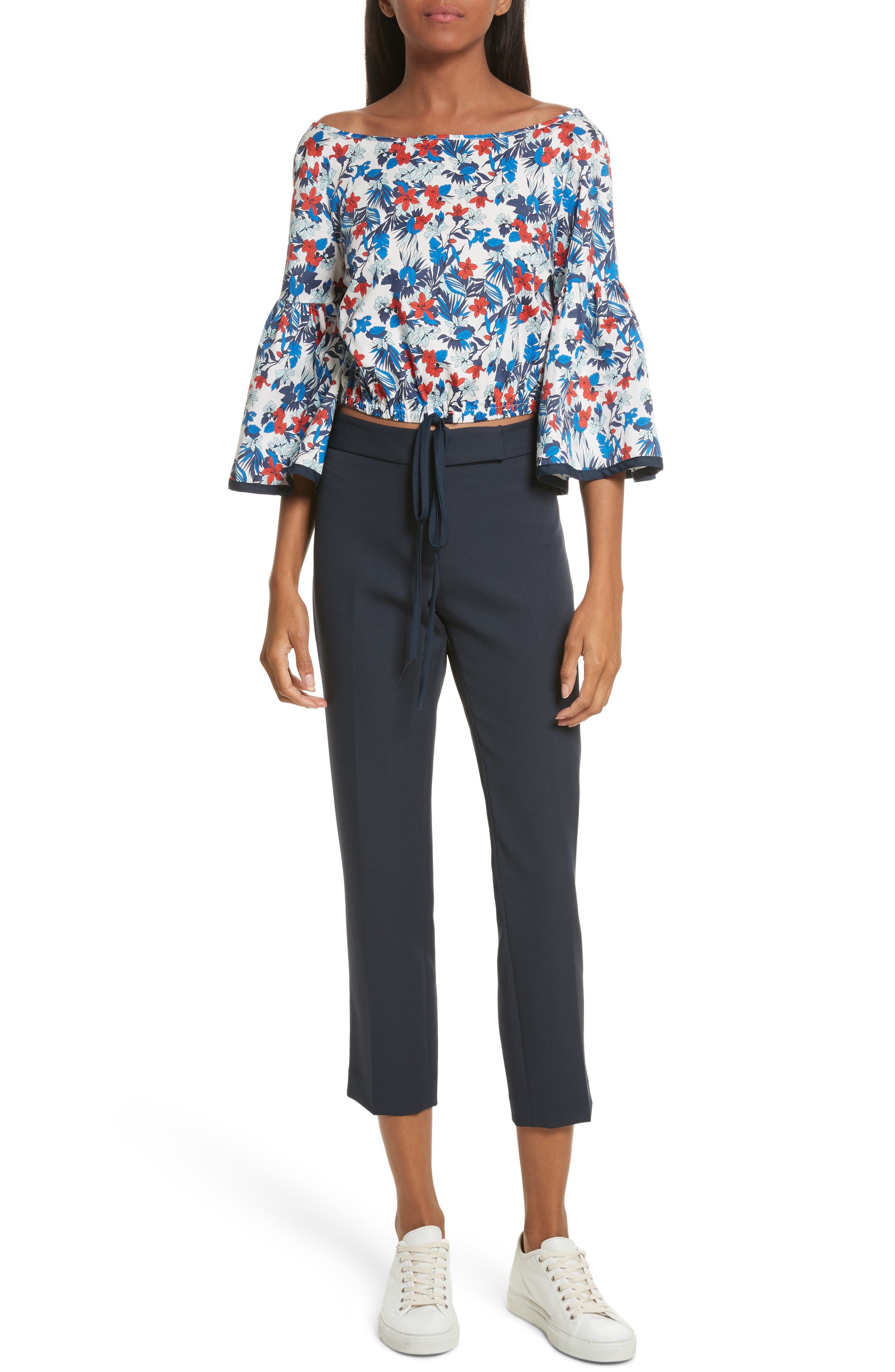 Alternate Image 6  - Milly Hibiscus Print Stretch Cotton Top